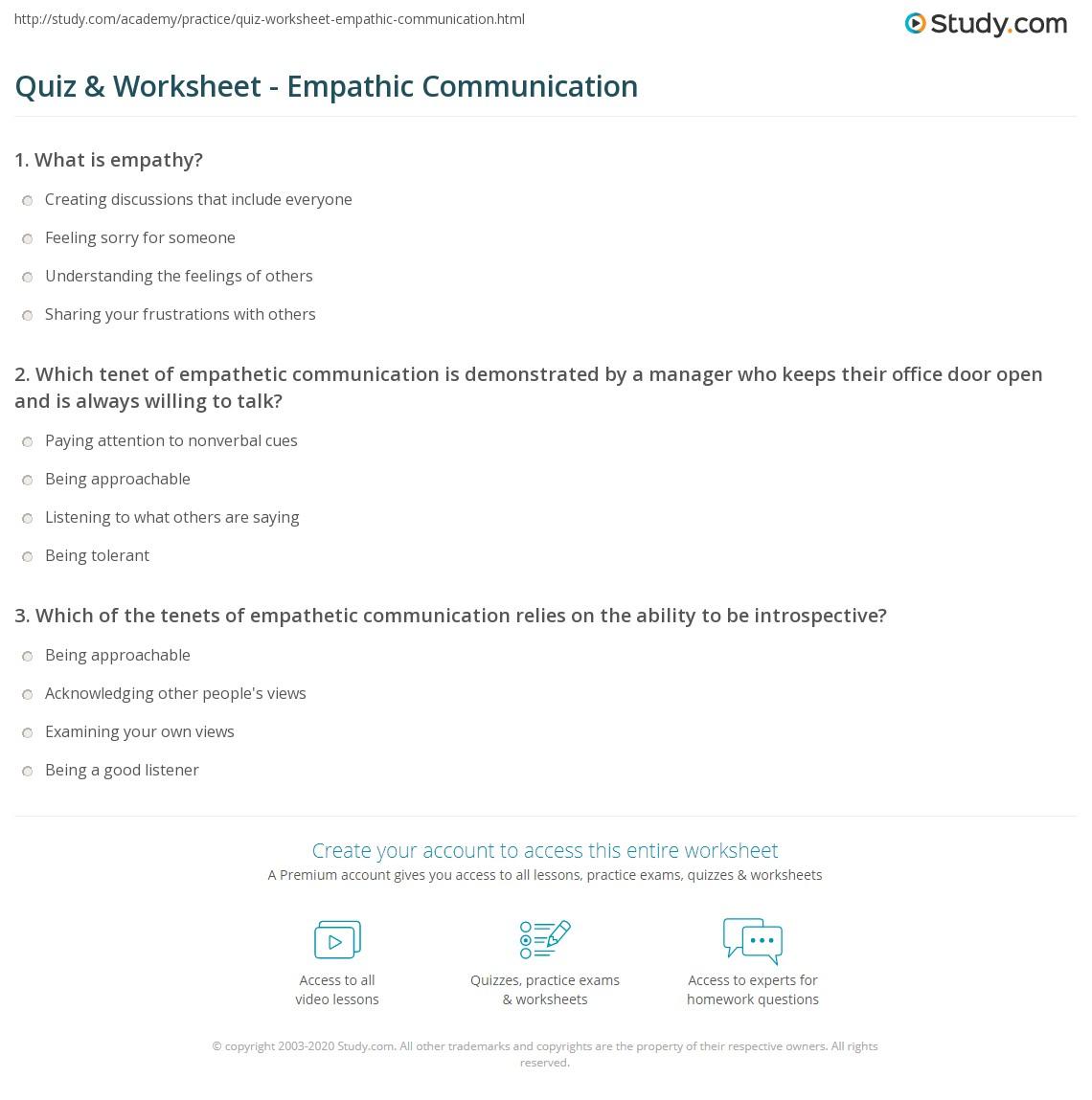 Empathy Worksheet - Khayav