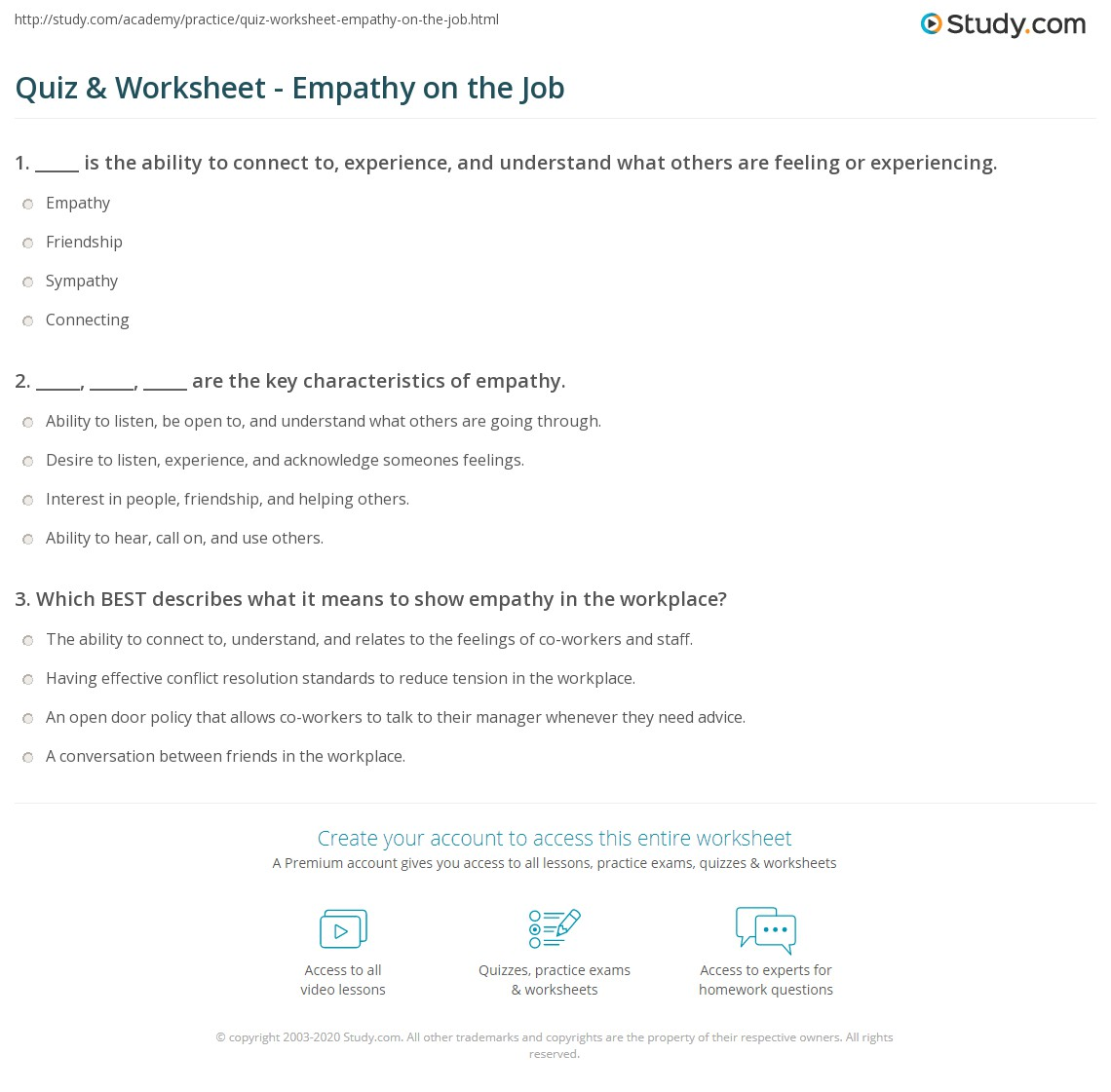 Quiz Worksheet Empathy On The Job Study