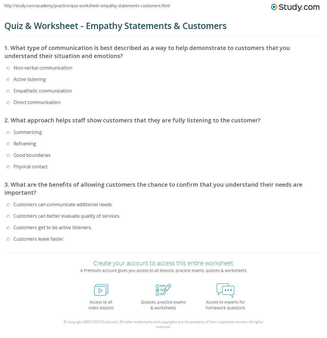 Quiz & Worksheet - Empathy Statements & Customers | Study.com