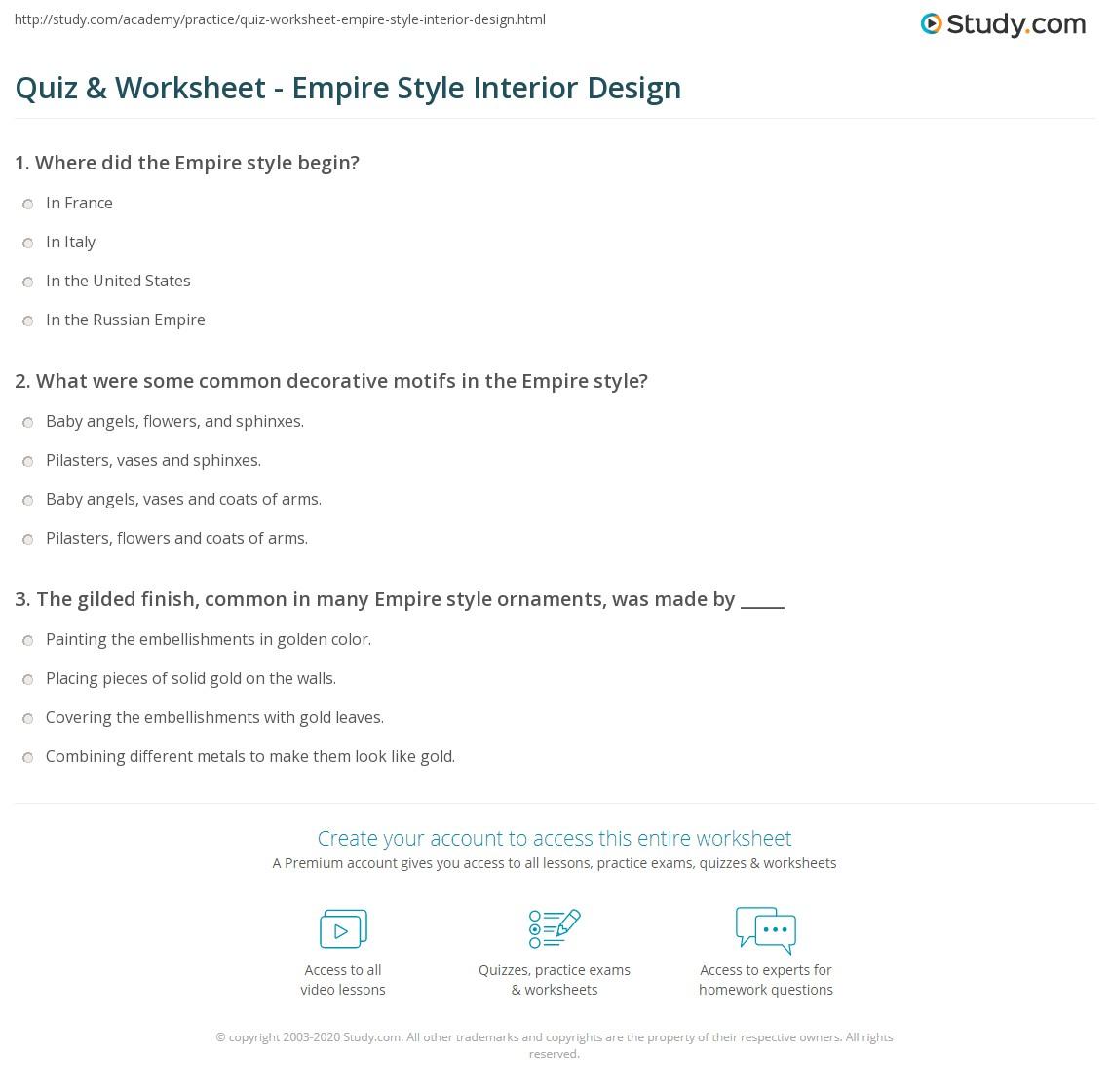 Merveilleux Print Empire Style Interior Design Worksheet