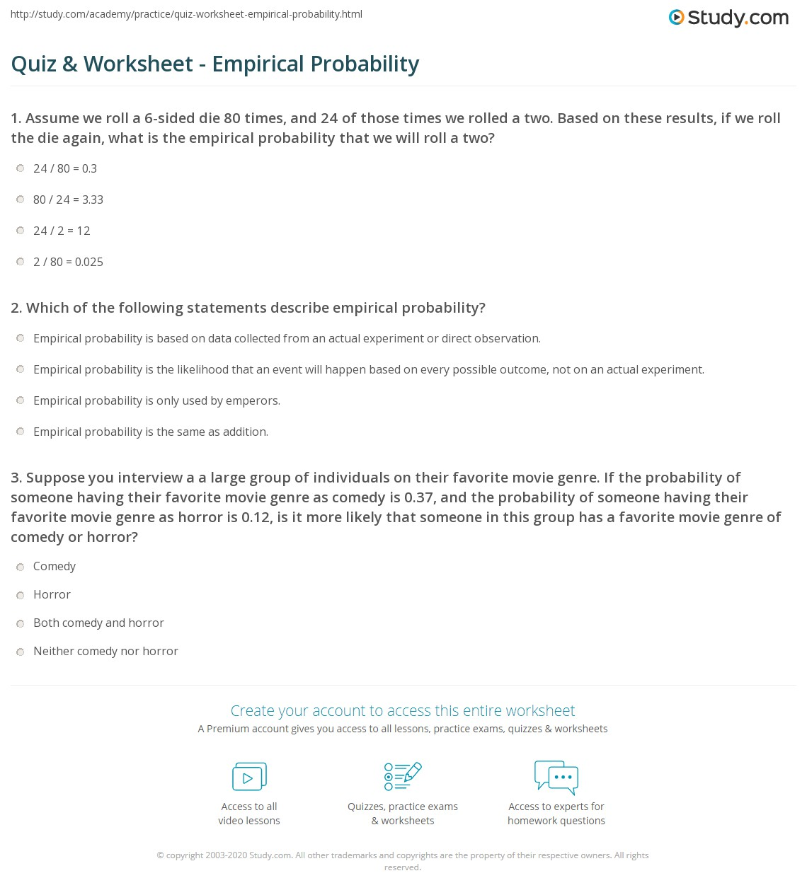 quiz worksheet empirical probability. Black Bedroom Furniture Sets. Home Design Ideas