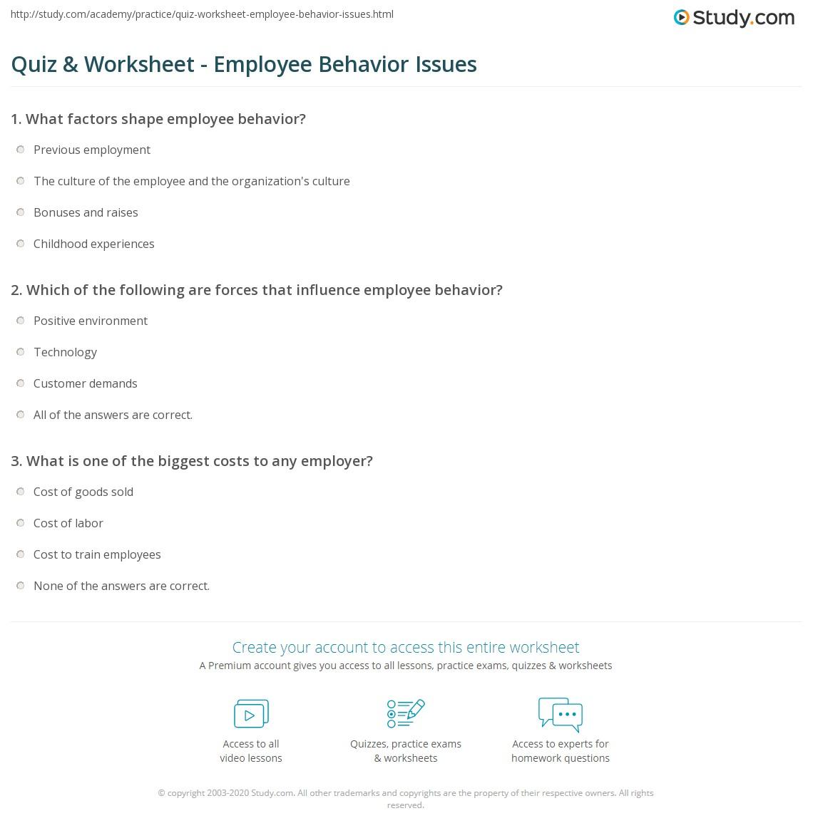 quiz worksheet employee behavior issues com print employee behavior definition issues expectations worksheet