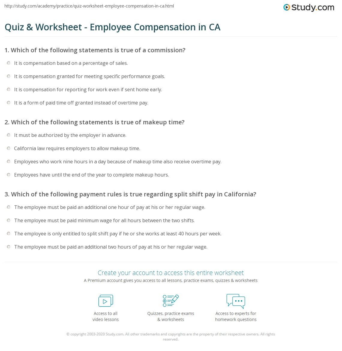 quiz worksheet employee compensation in ca. Black Bedroom Furniture Sets. Home Design Ideas