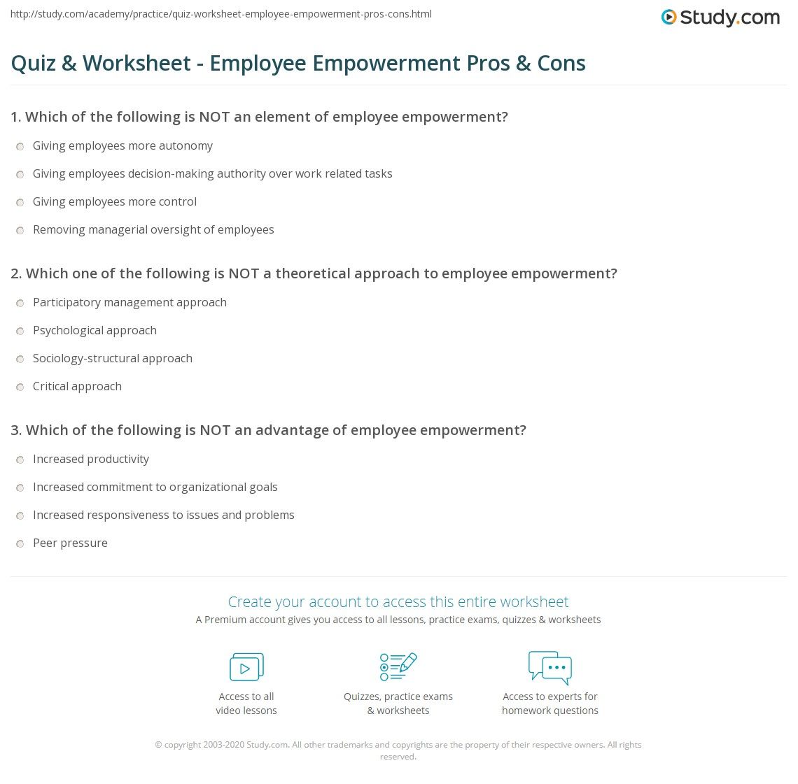 quiz & worksheet - employee empowerment pros & cons | study