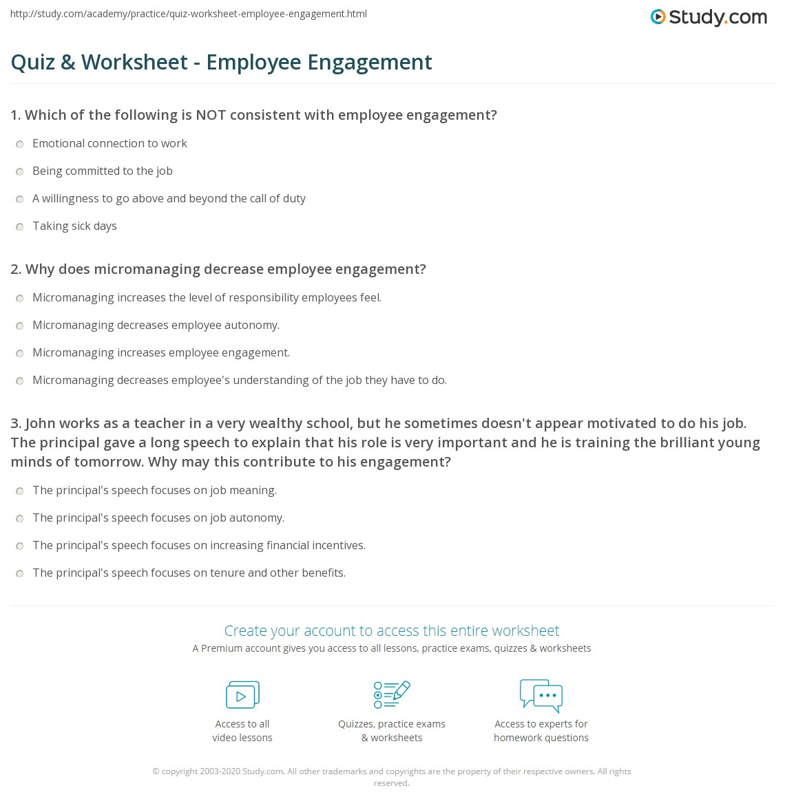 quiz & worksheet - employee engagement | study