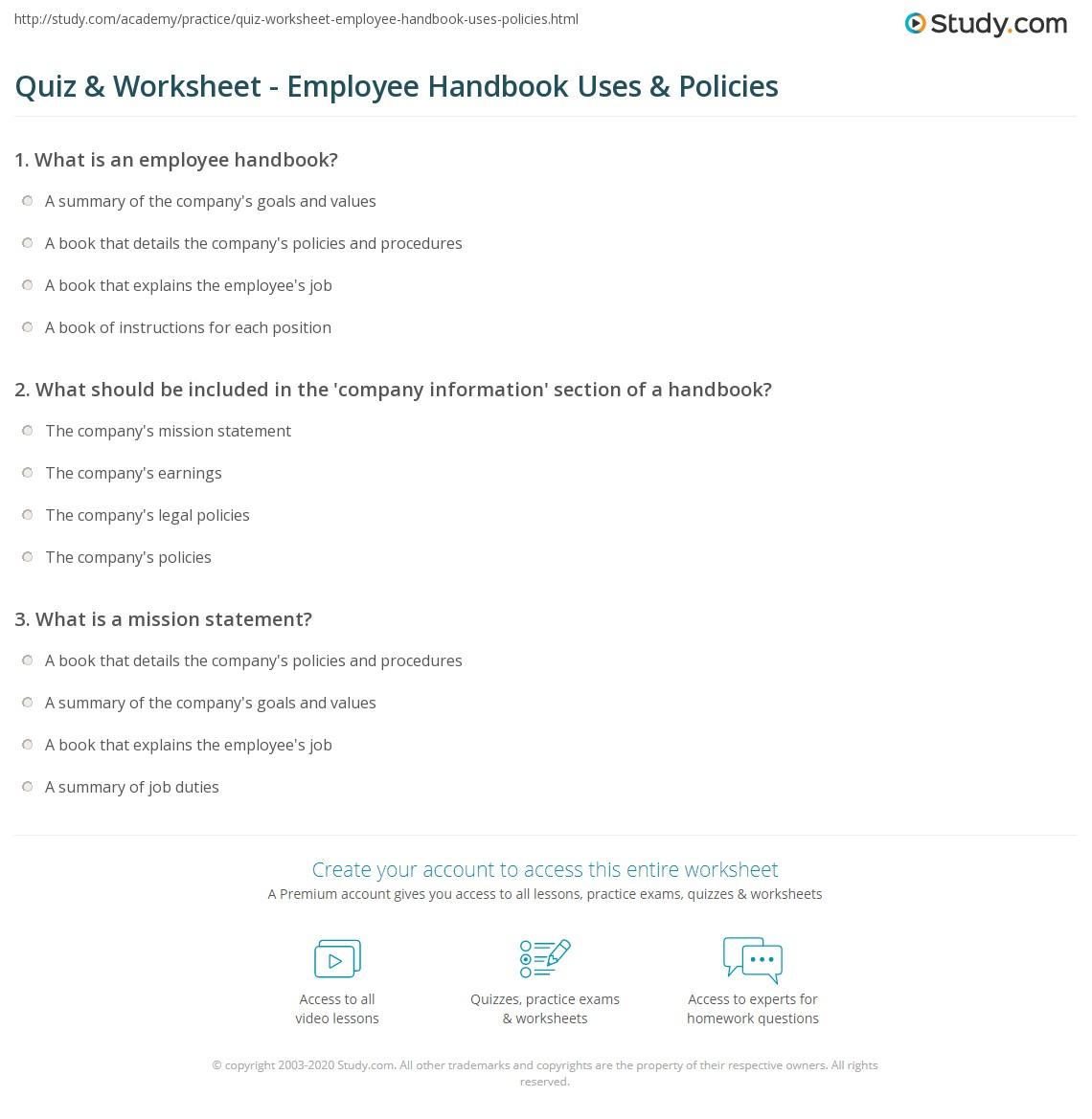 mechanic employee handbook