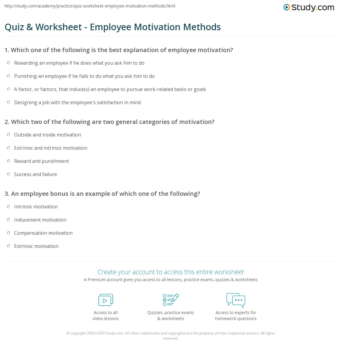 quiz worksheet employee motivation methods com print what is employee motivation theories methods factors worksheet