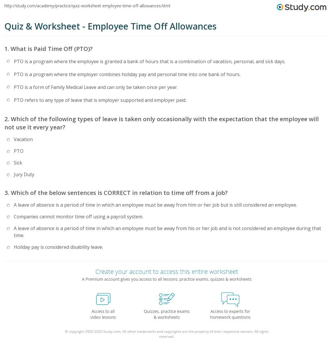 quiz worksheet employee time off allowances study com