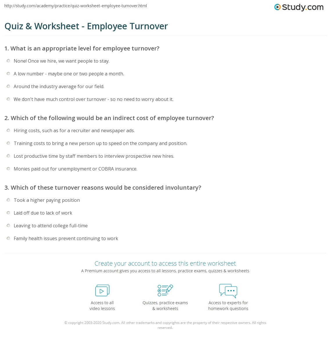 Quiz & Worksheet - Employee Turnover | Study.com