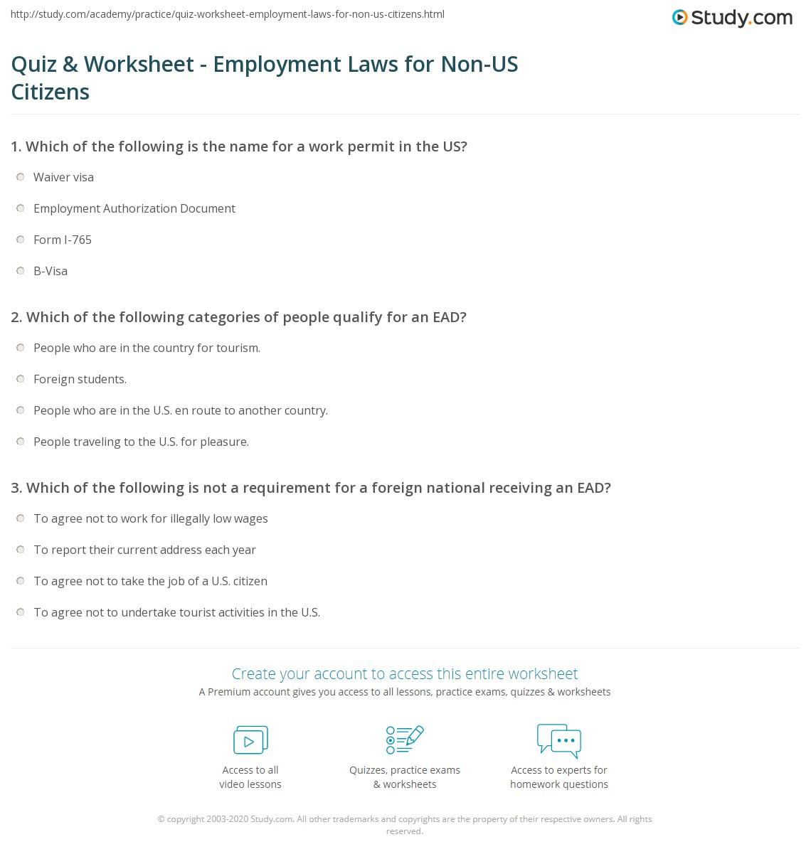 worksheet I 765 Worksheet quiz worksheet employment laws for non us citizens study com print work authorization regulations worksheet