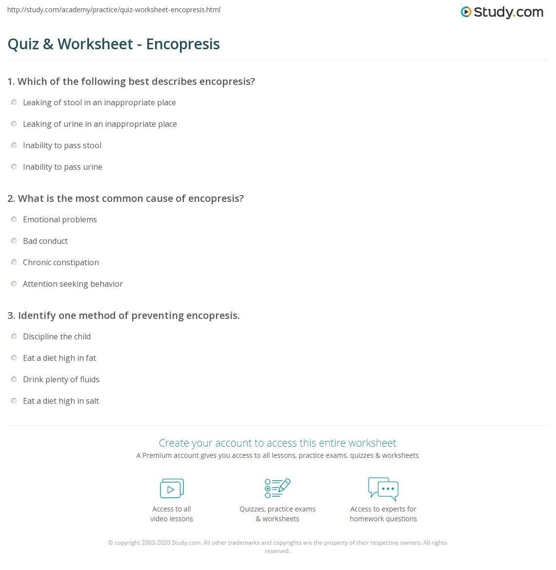 quiz worksheet encopresis. Black Bedroom Furniture Sets. Home Design Ideas