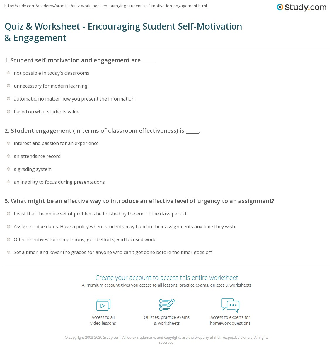 Worksheets Self Motivation Worksheets quiz worksheet encouraging student self motivation engagement print how to encourage worksheet