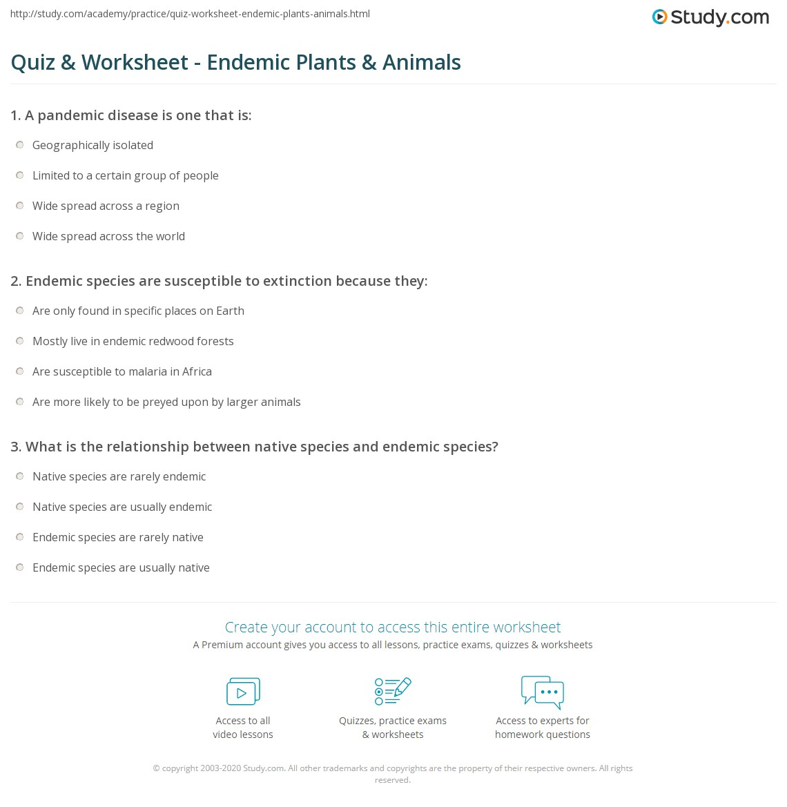 Exceptional Print Endemic Plants And Animals: Definition U0026 Examples Worksheet