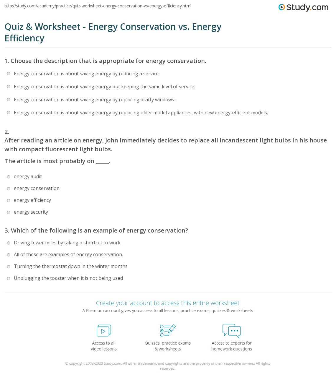 Quiz & Worksheet - Energy Conservation vs. Energy Efficiency | Study.com
