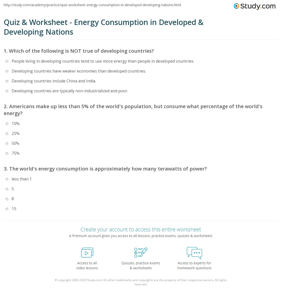 Quiz & Worksheet - Energy Consumption in Developed ...