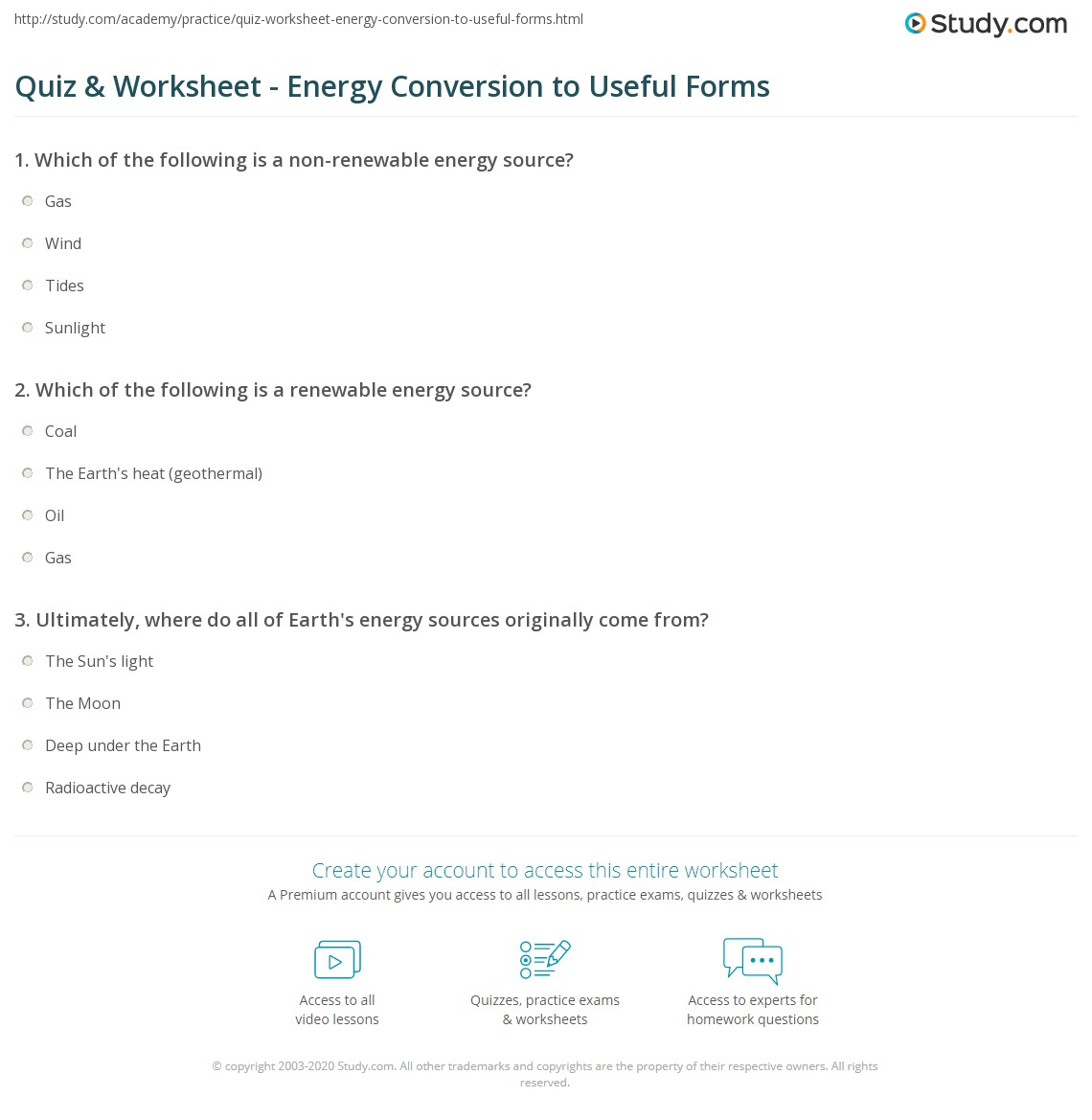 Quiz & Worksheet - Energy Conversion to Useful Forms | Study.com