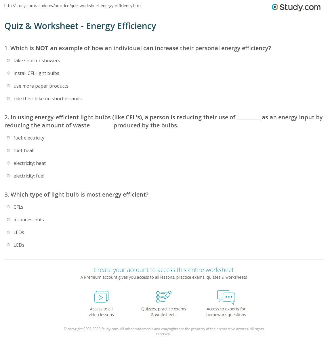 Quiz & Worksheet - Energy Efficiency | Study.com