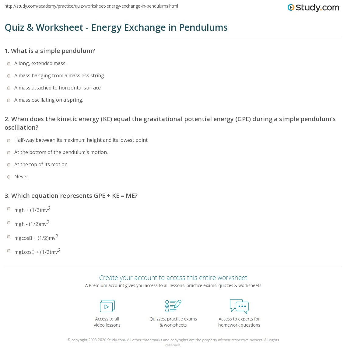 Quiz Worksheet Energy Exchange In Pendulums Study