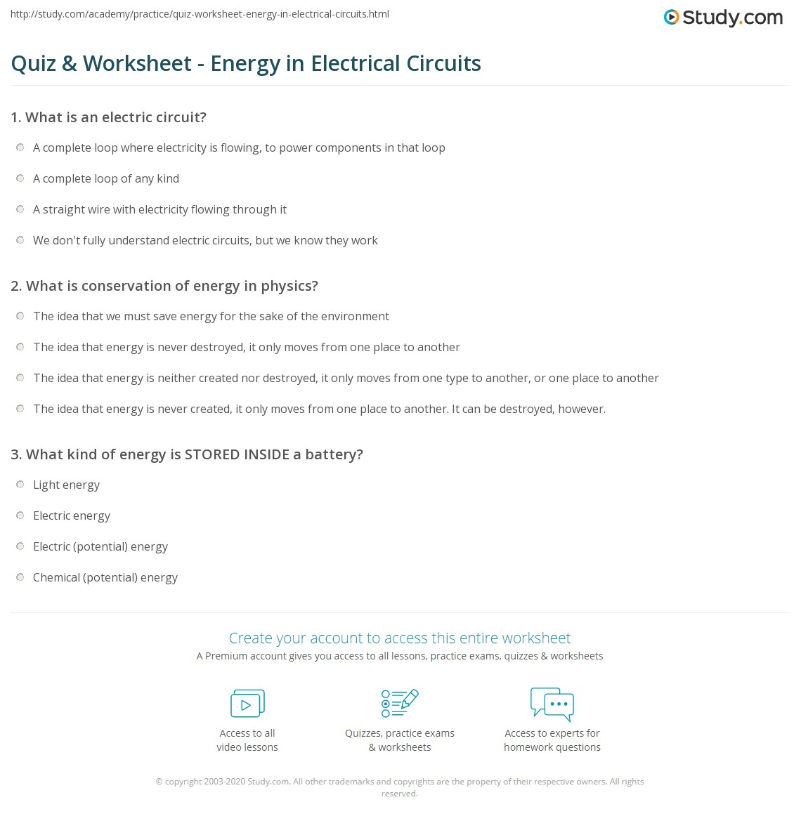 Quiz & Worksheet - Energy in Electrical Circuits | Study.com