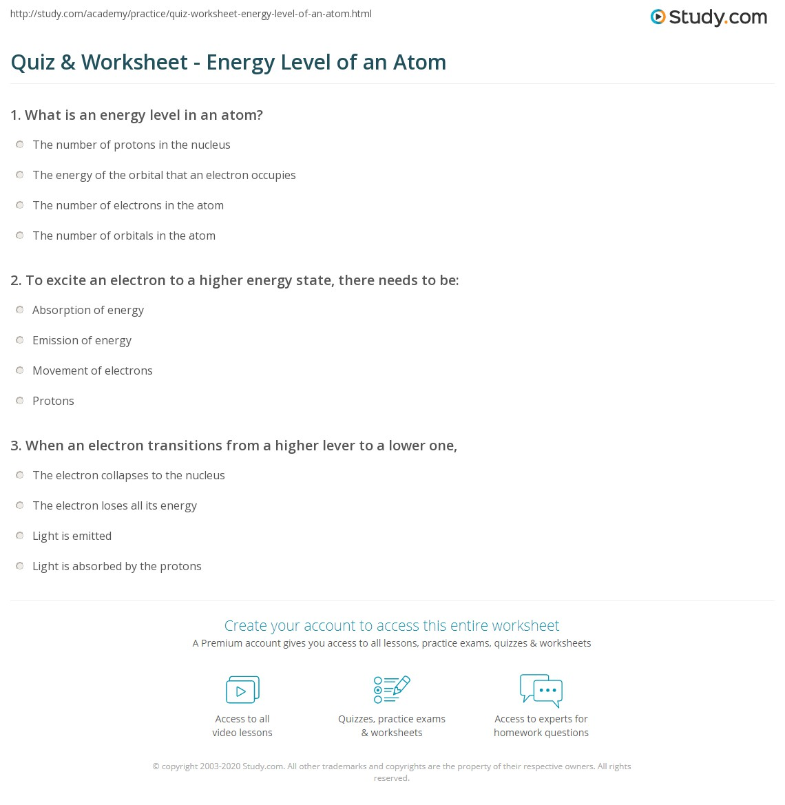 Quiz & Worksheet - Energy Level of an Atom | Study.com