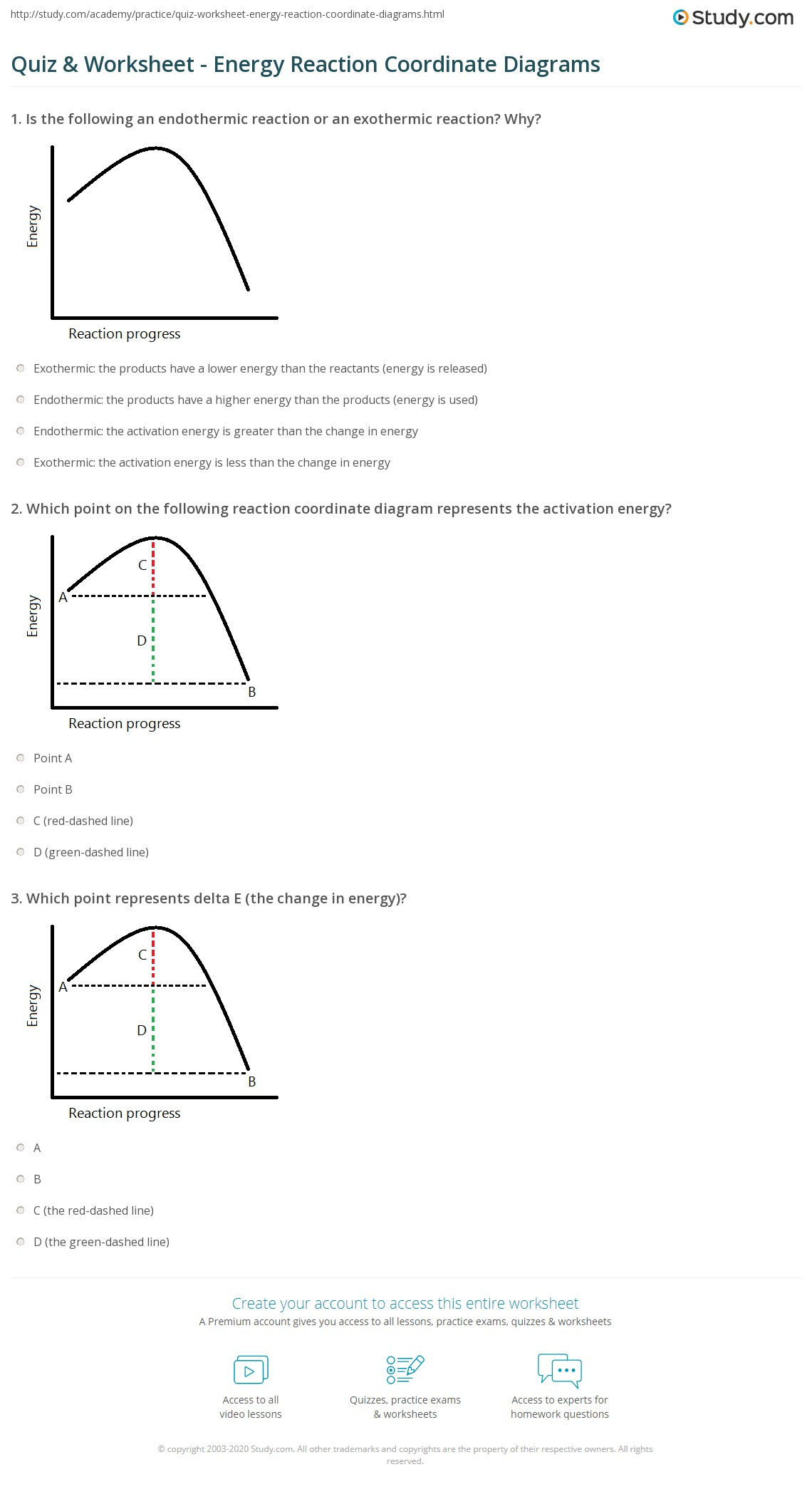 Quiz Worksheet Energy Reaction Coordinate Diagrams – Energy Diagram Worksheet