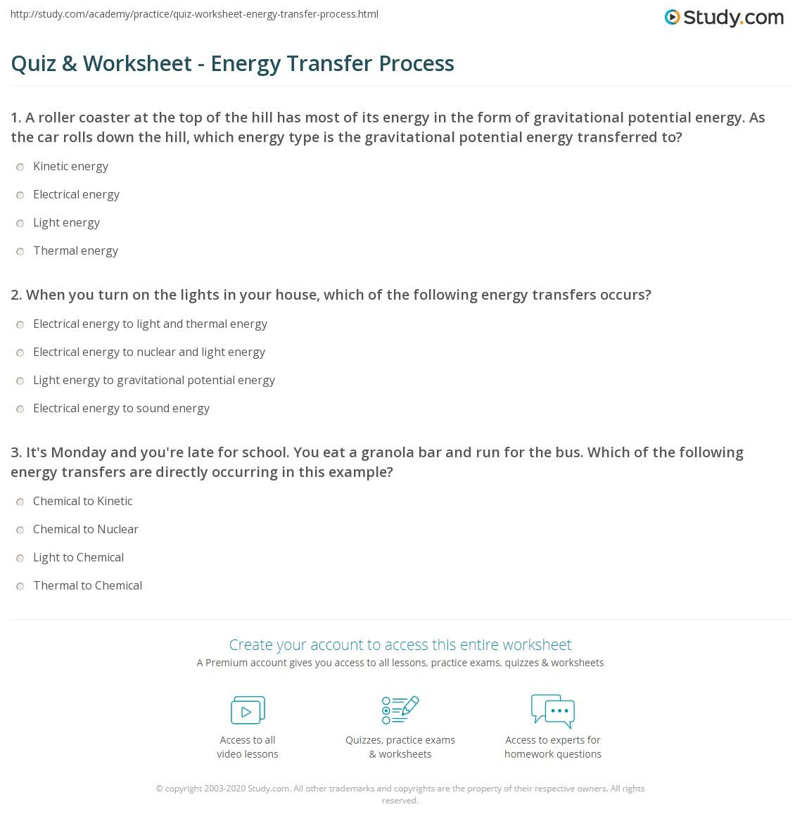 worksheet Energy Transfer Worksheet quiz worksheet energy transfer process study com print the of worksheet