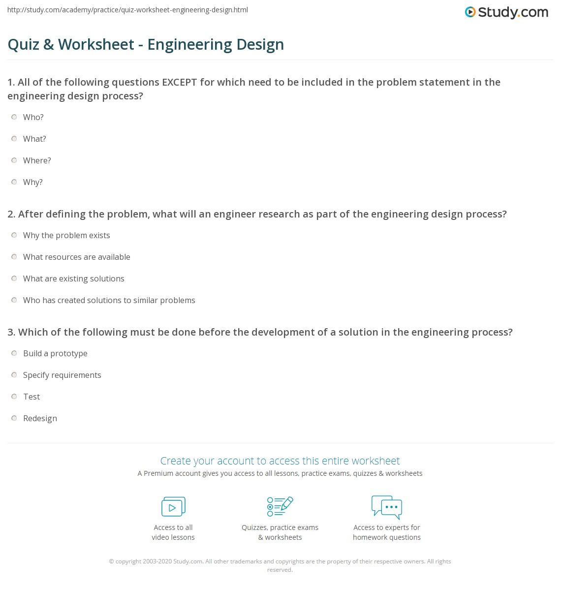 Quiz Worksheet Engineering Design Study Com