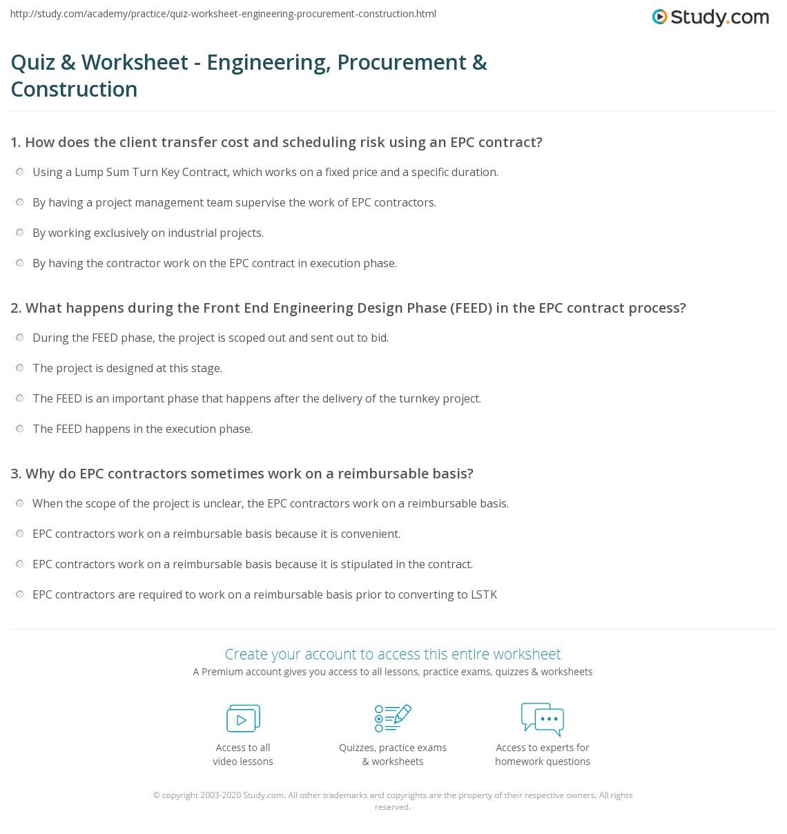 Quiz & Worksheet - Engineering, Procurement & Construction
