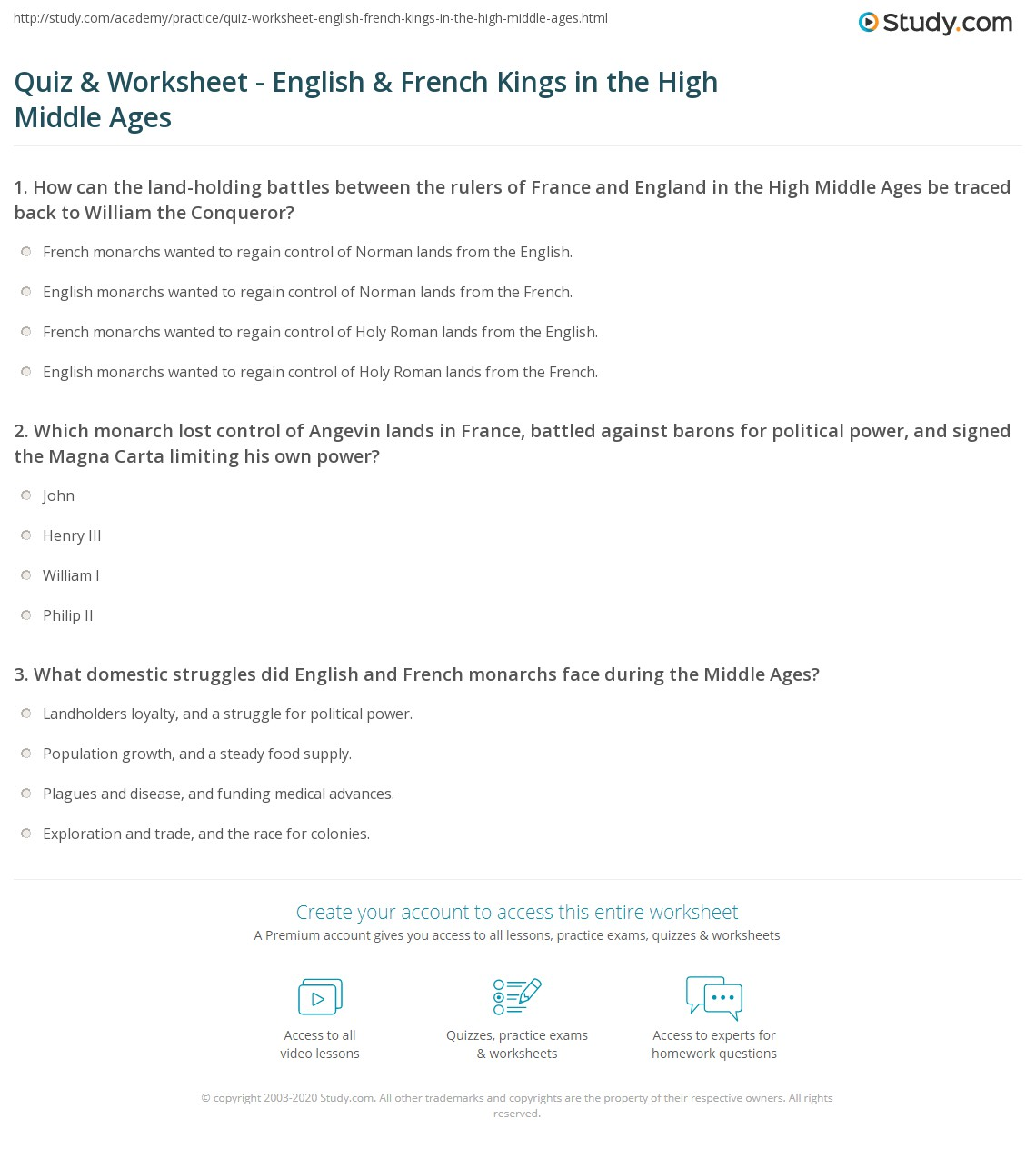 quiz worksheet english french kings in the high middle ages. Black Bedroom Furniture Sets. Home Design Ideas