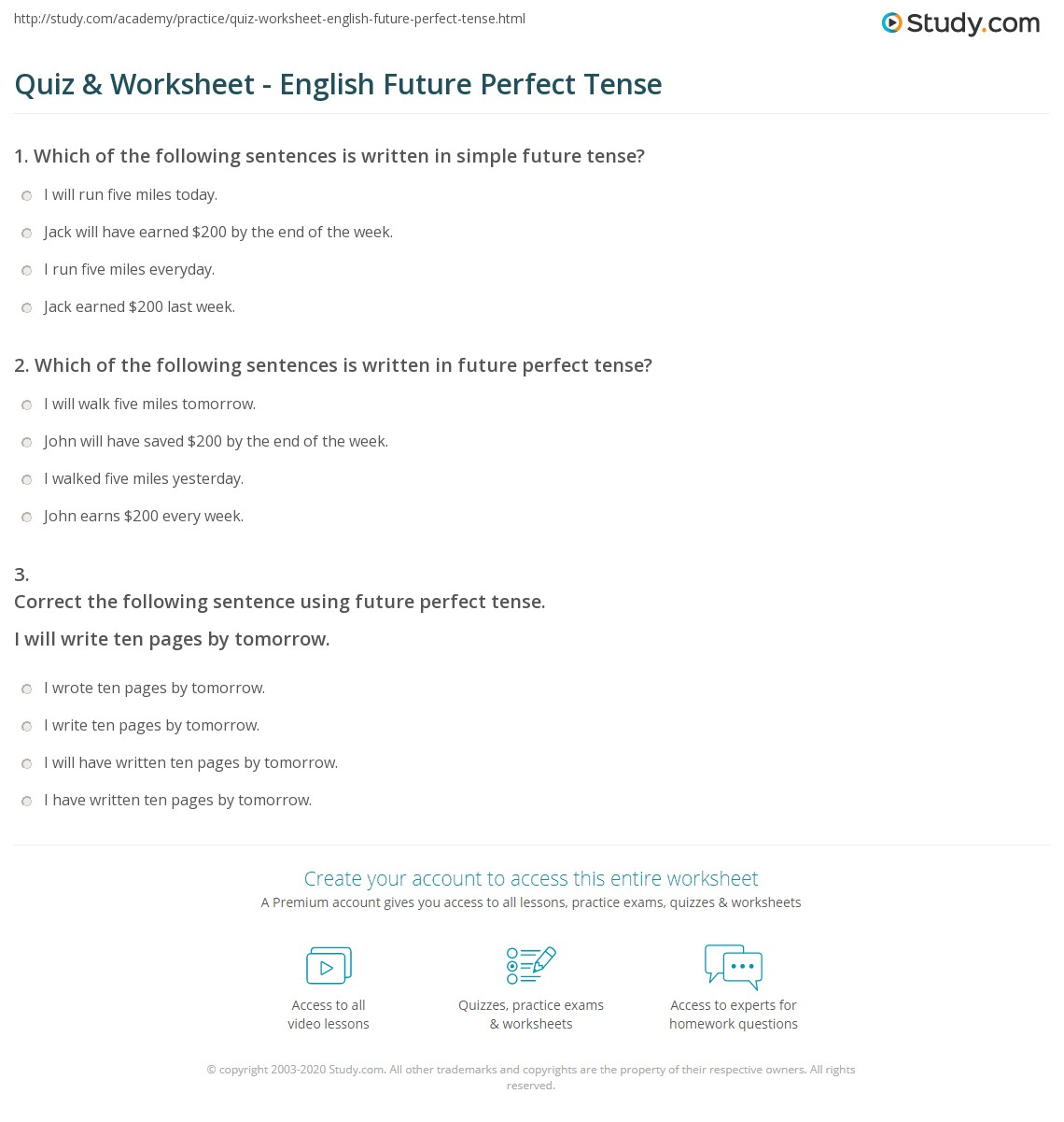 Quiz & Worksheet - English Future Perfect Tense | Study.com