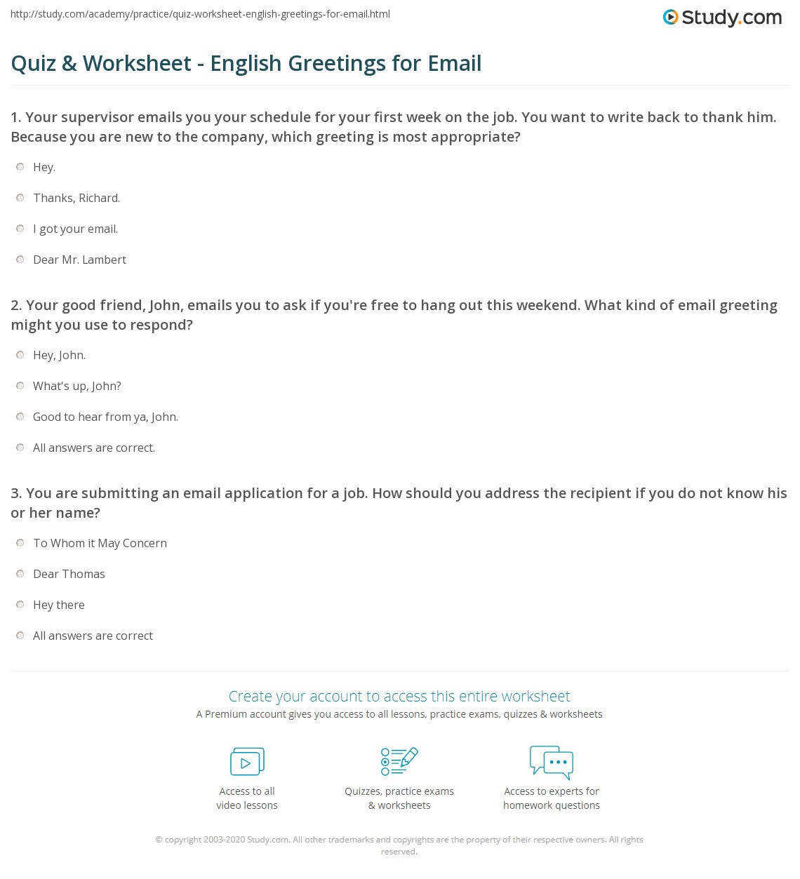 Quiz Worksheet English Greetings For Email Study