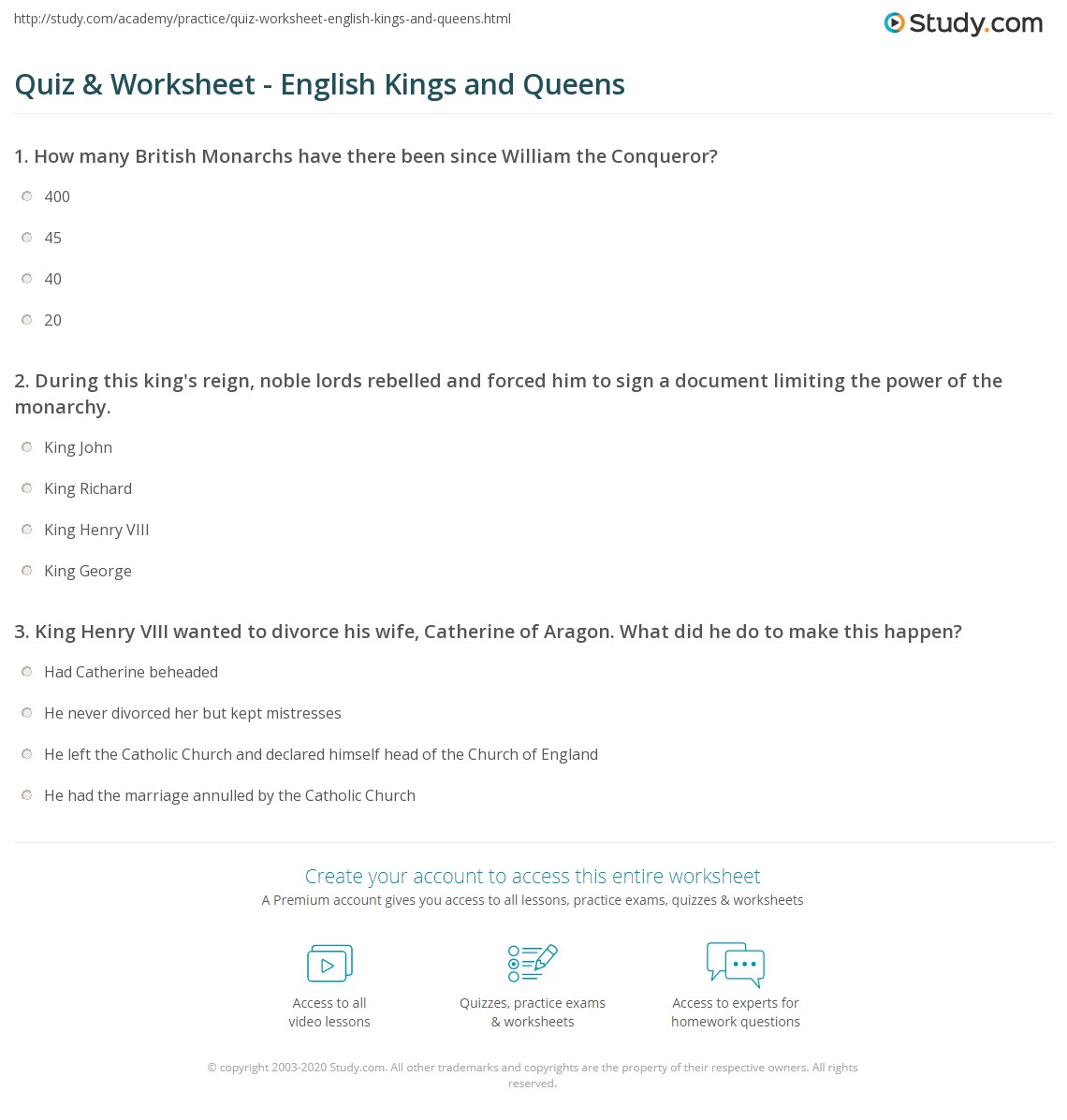 quiz worksheet english kings and queens. Black Bedroom Furniture Sets. Home Design Ideas