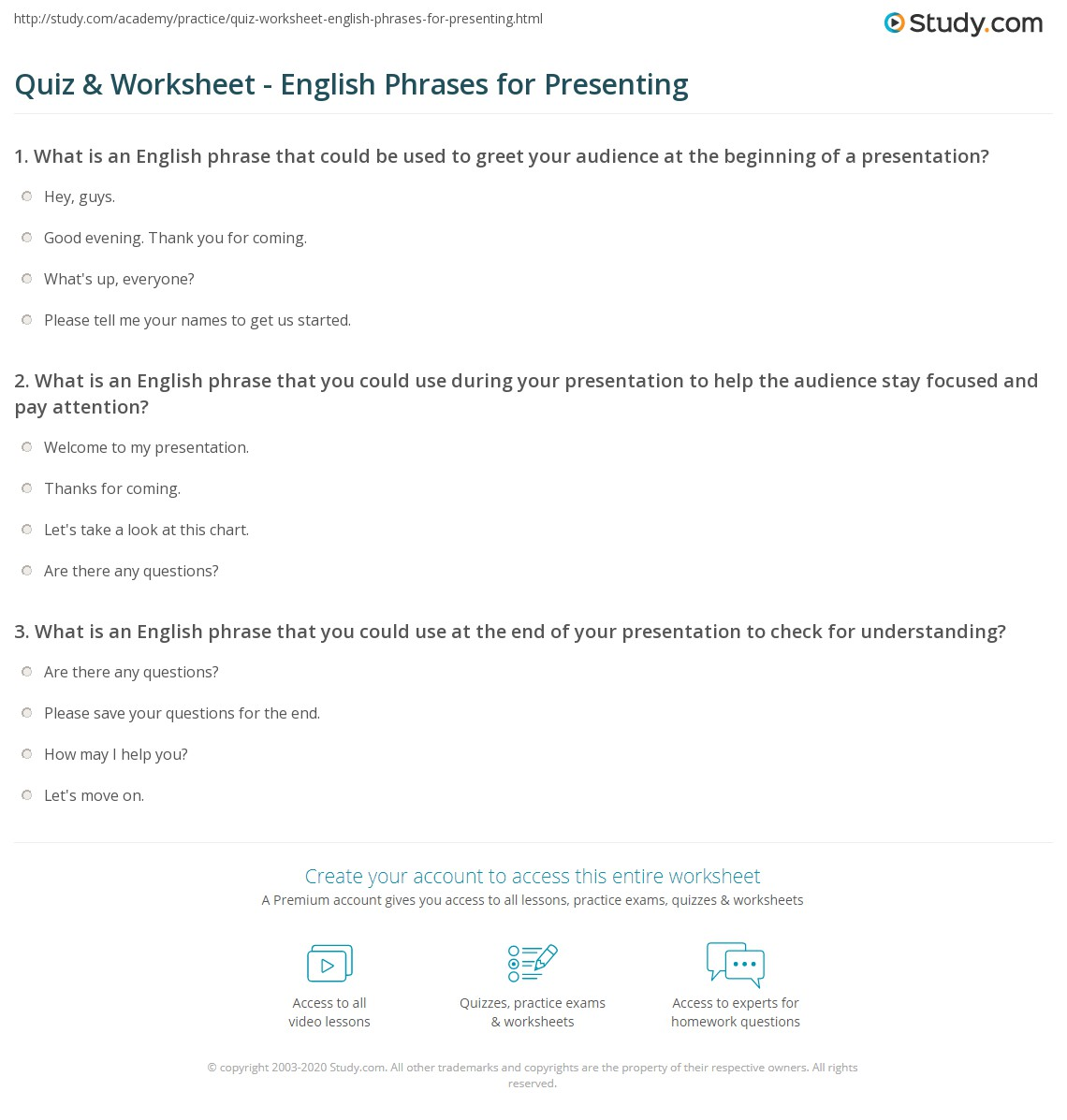Quiz Worksheet English Phrases For Presenting Study