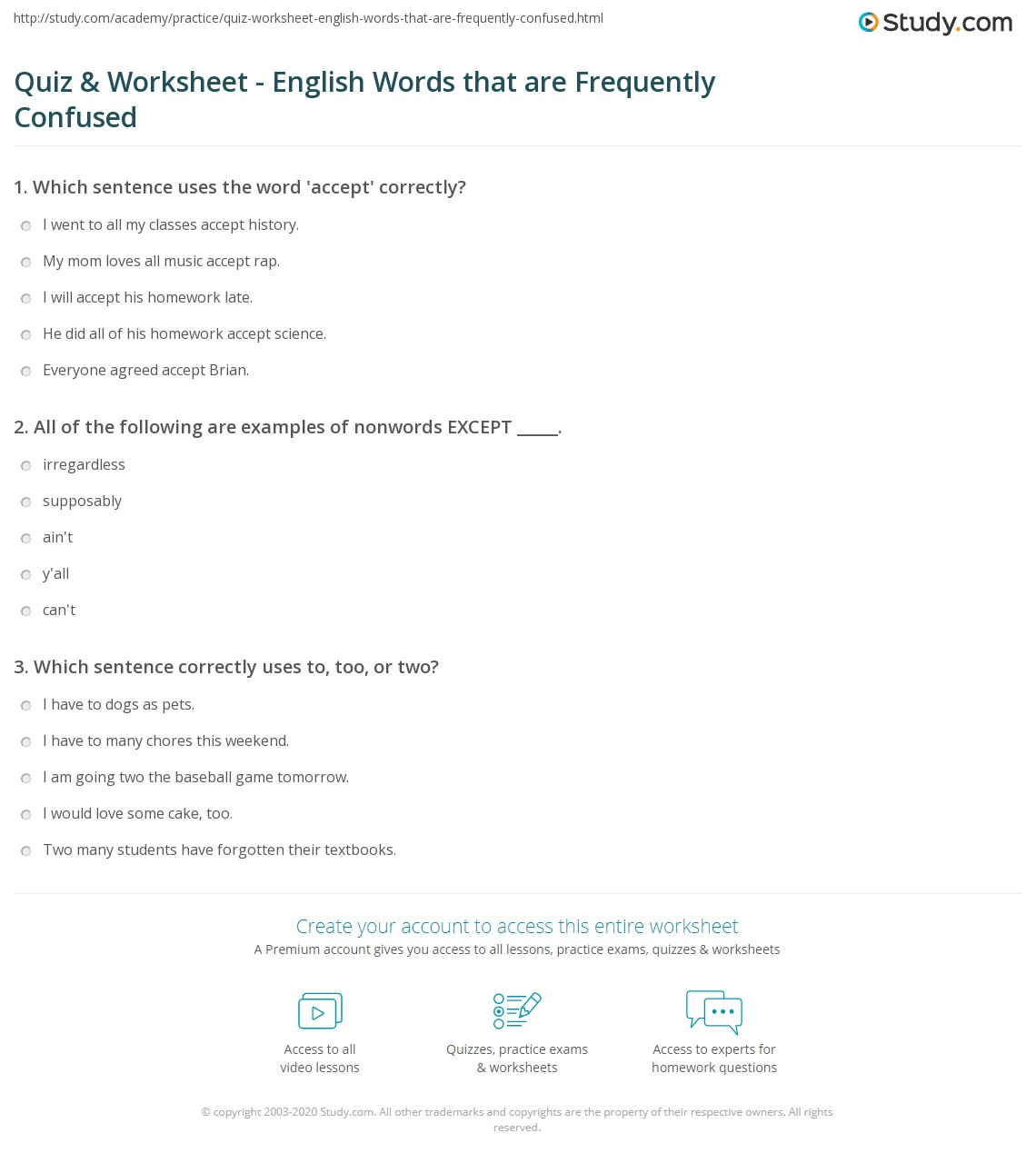 Quiz Worksheet English Words That Are Frequently Confused