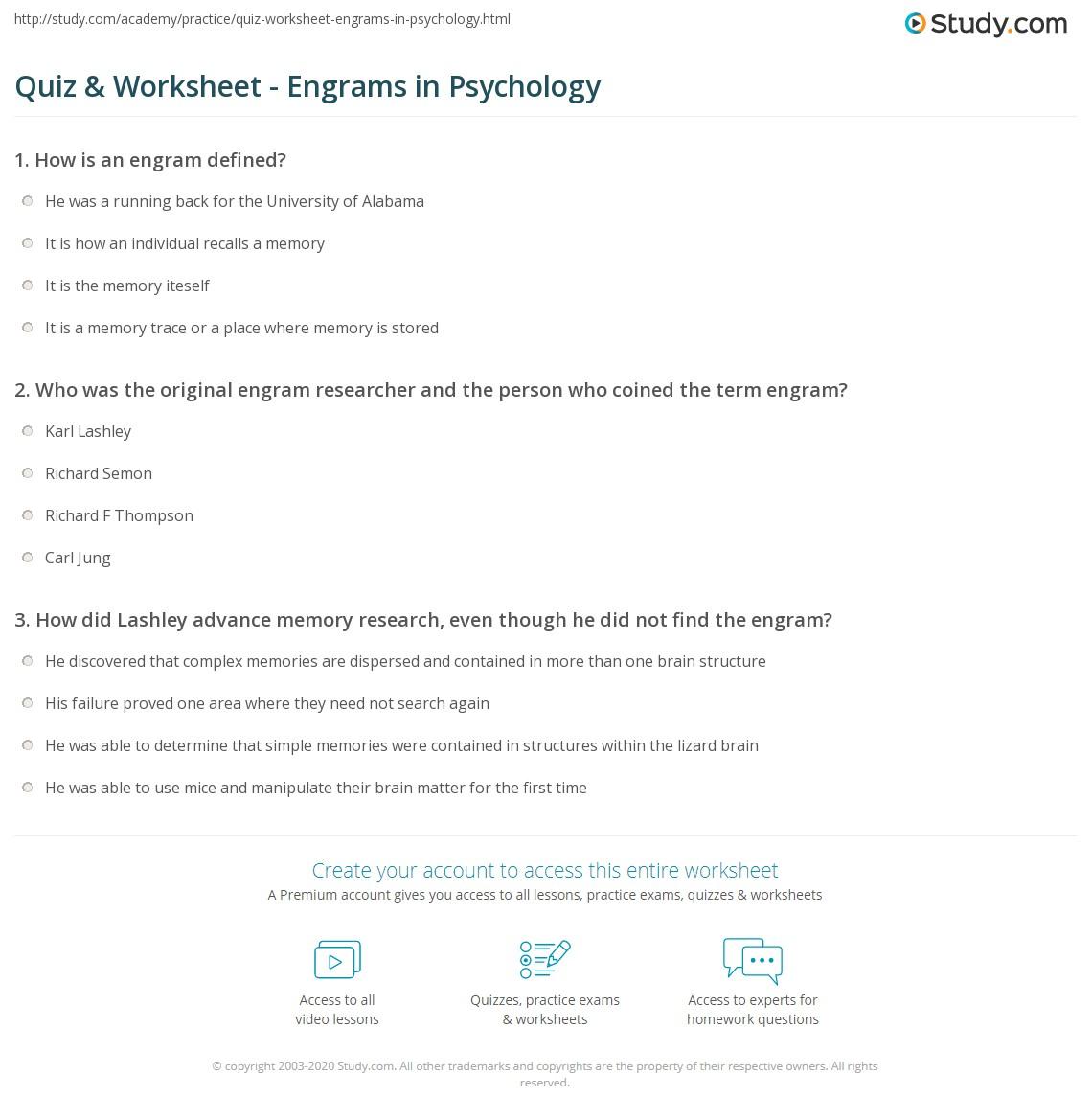 quiz worksheet engrams in psychology. Black Bedroom Furniture Sets. Home Design Ideas