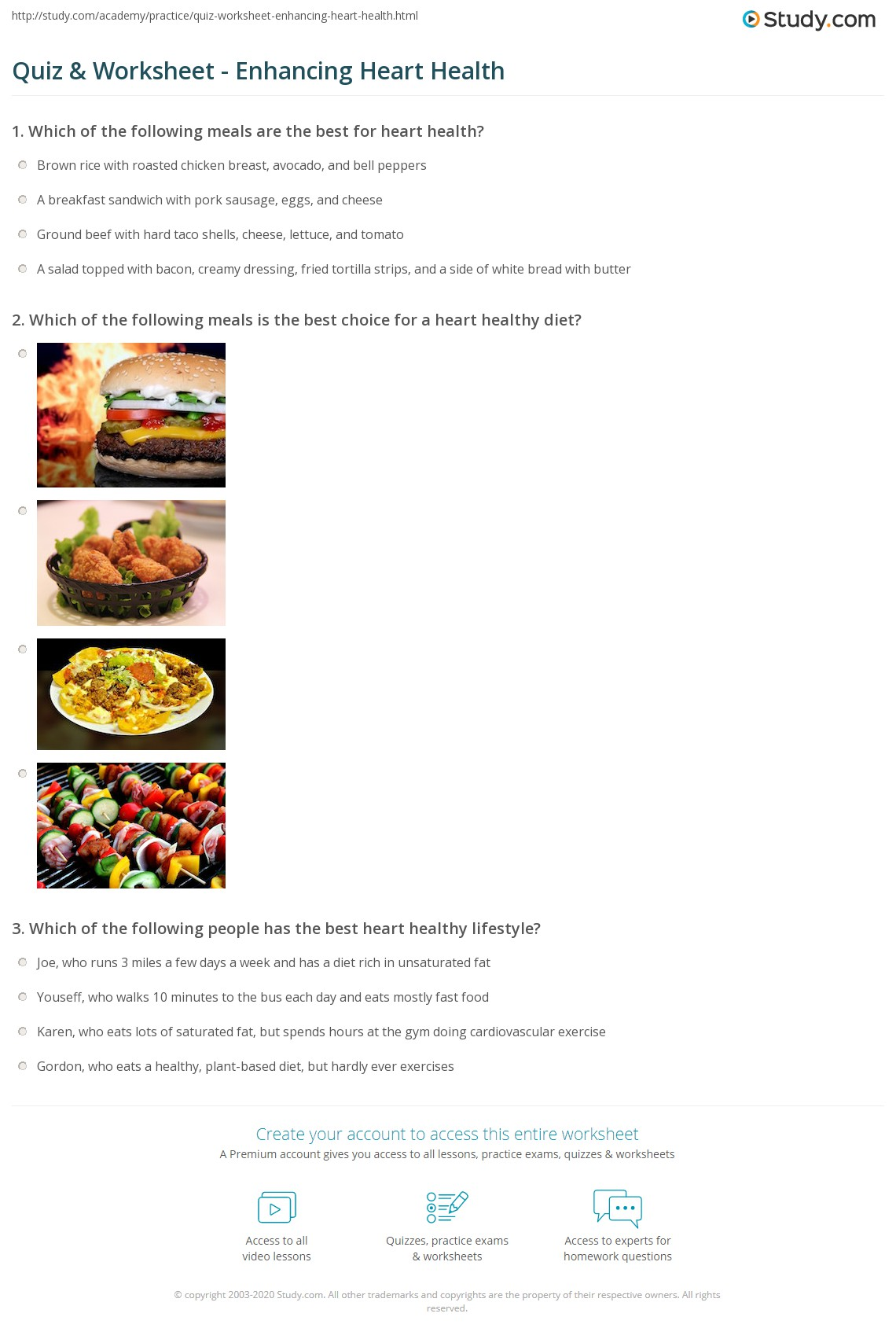 Quiz worksheet enhancing heart health study which of the following meals is the best choice for a heart healthy diet forumfinder Images