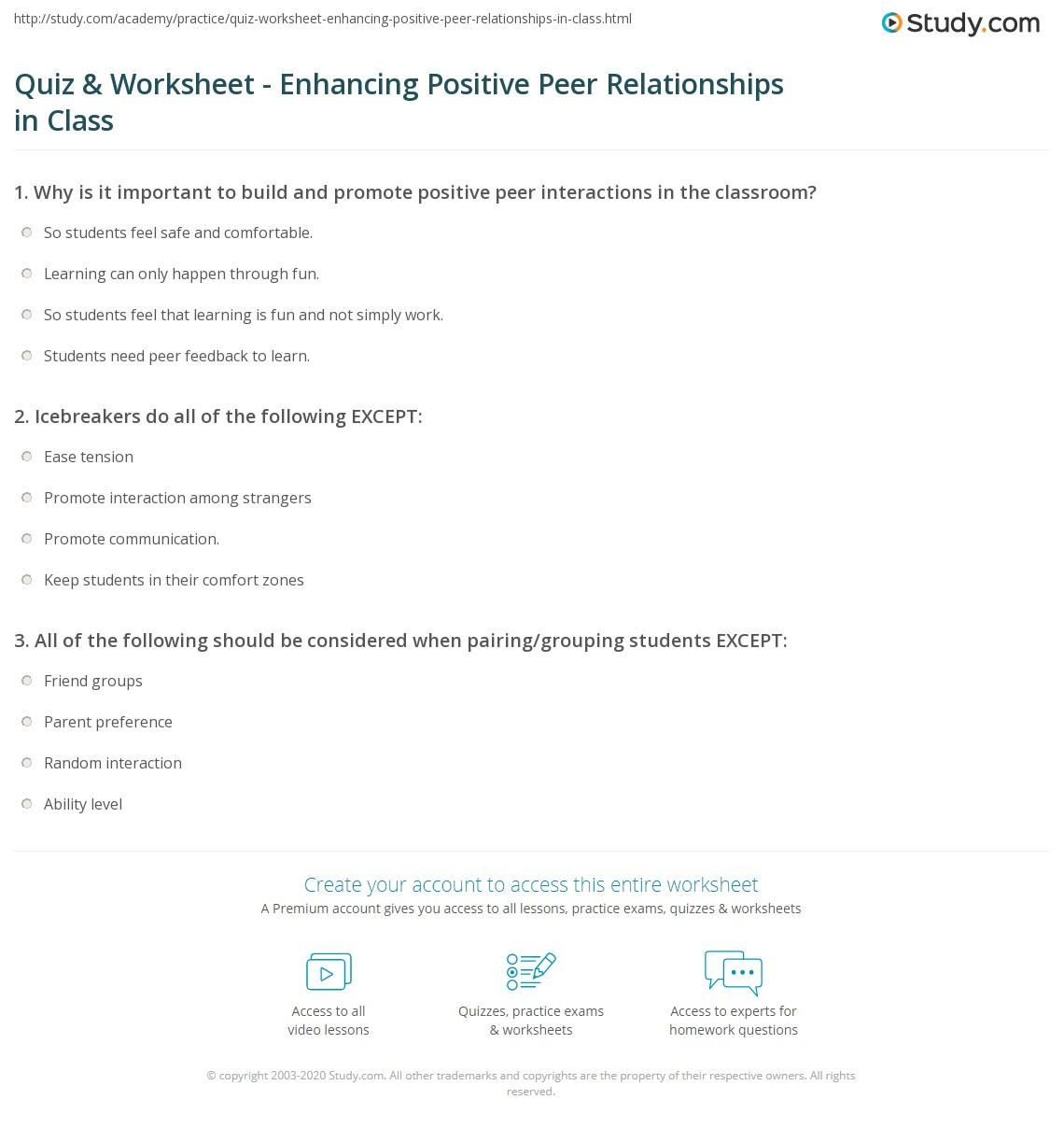 Free Worksheet Icebreaker Worksheets For Adults quiz worksheet enhancing positive peer relationships in class print building promoting the classroom worksheet