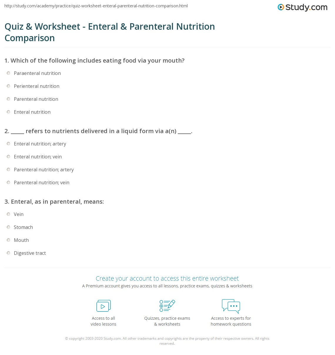 Quiz & Worksheet - Enteral & Parenteral Nutrition Comparison