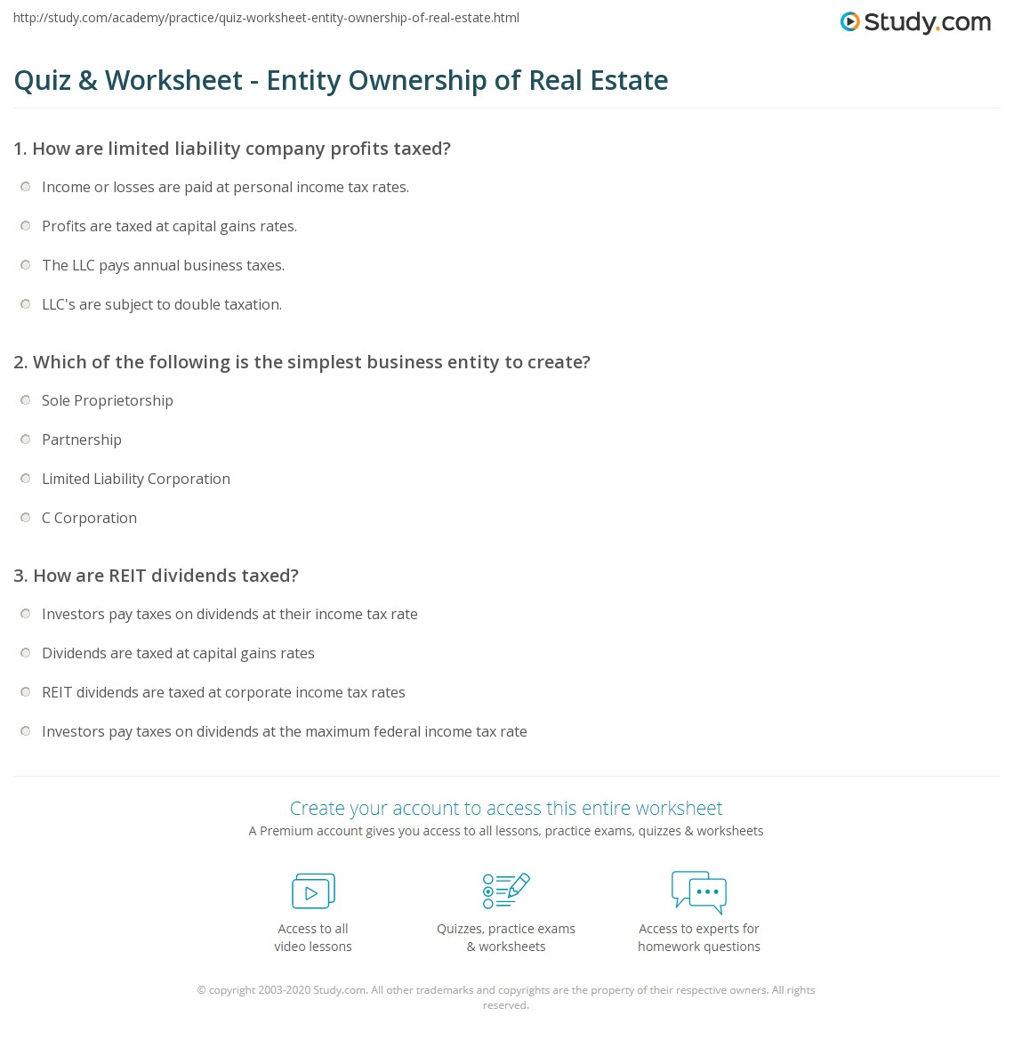 Quiz worksheet entity ownership of real estate study print entity ownership of real estate types pros cons worksheet ibookread ePUb