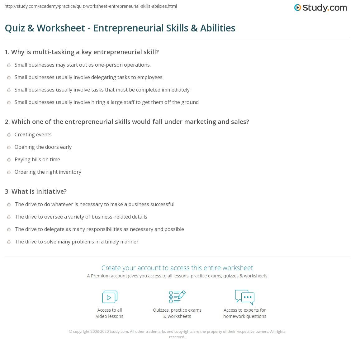 Quiz Worksheet Entrepreneurial Skills Abilities – Skills Inventory Worksheet