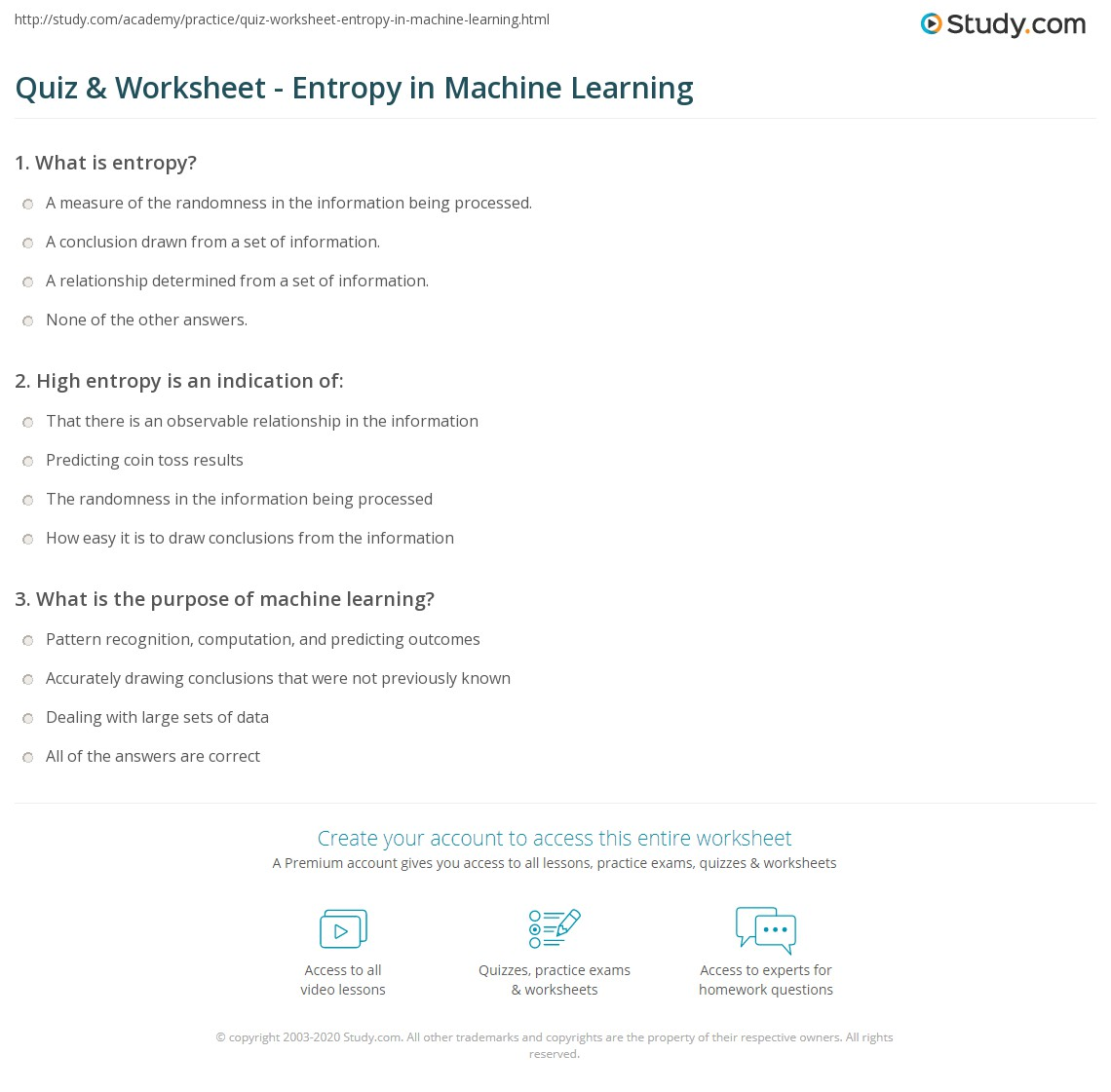 {Quiz Worksheet Entropy in Machine Learning – Entropy Worksheet