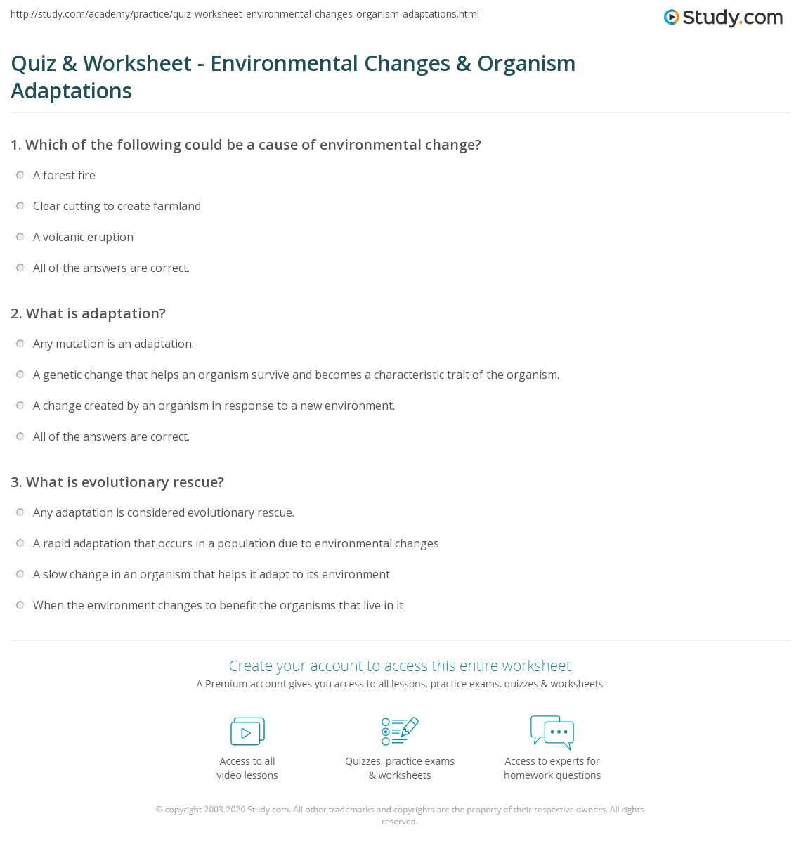 Quiz & Worksheet - Environmental Changes & Organism Adaptations ...