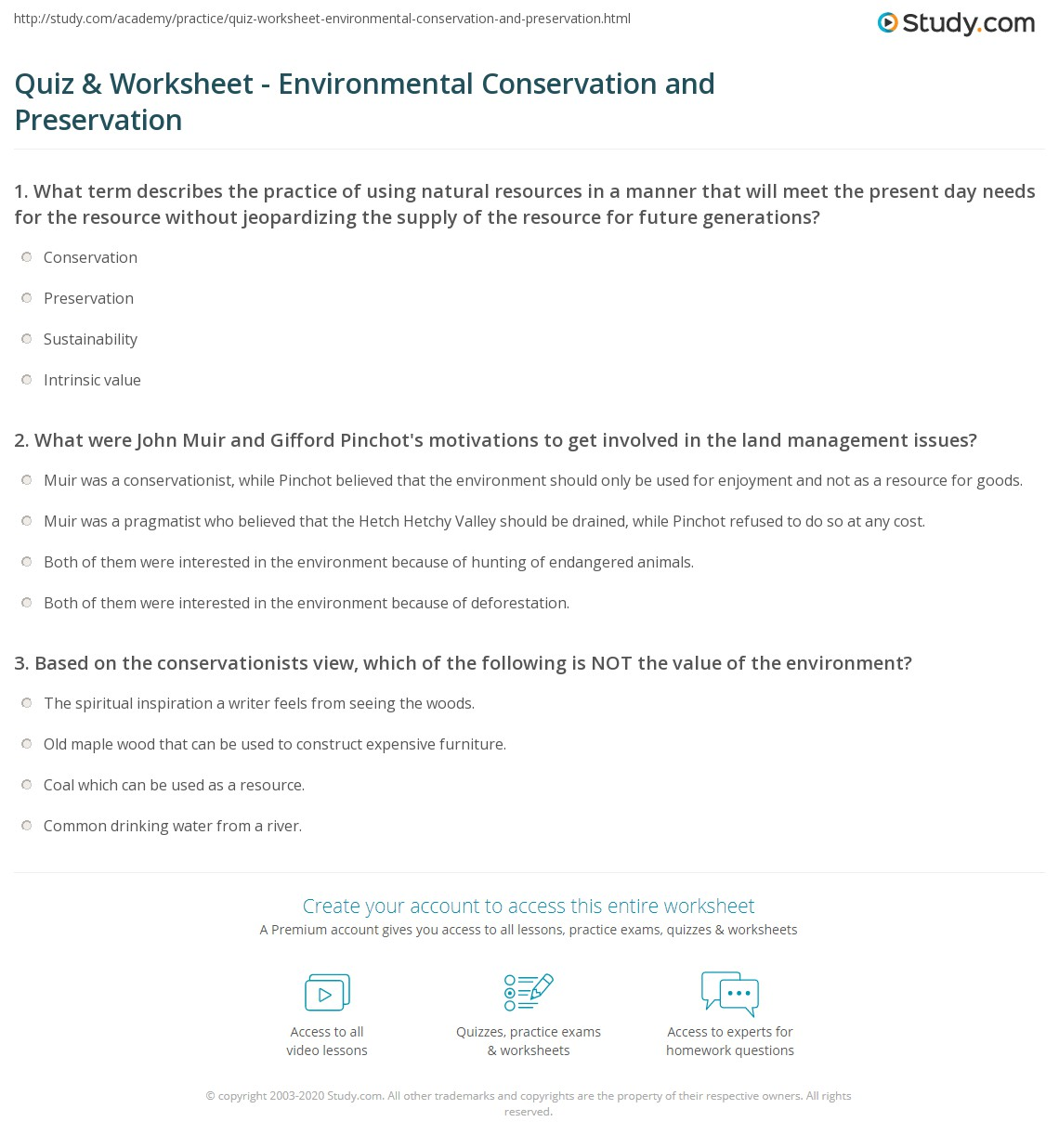 Quiz & Worksheet - Environmental Conservation and Preservation ...