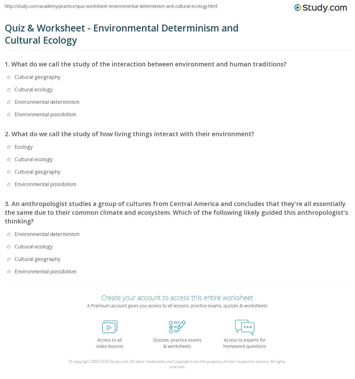 Worksheets Ecology Vocabulary Worksheet quiz worksheet environmental determinism and cultural ecology print definitions relation adaptation worksheet