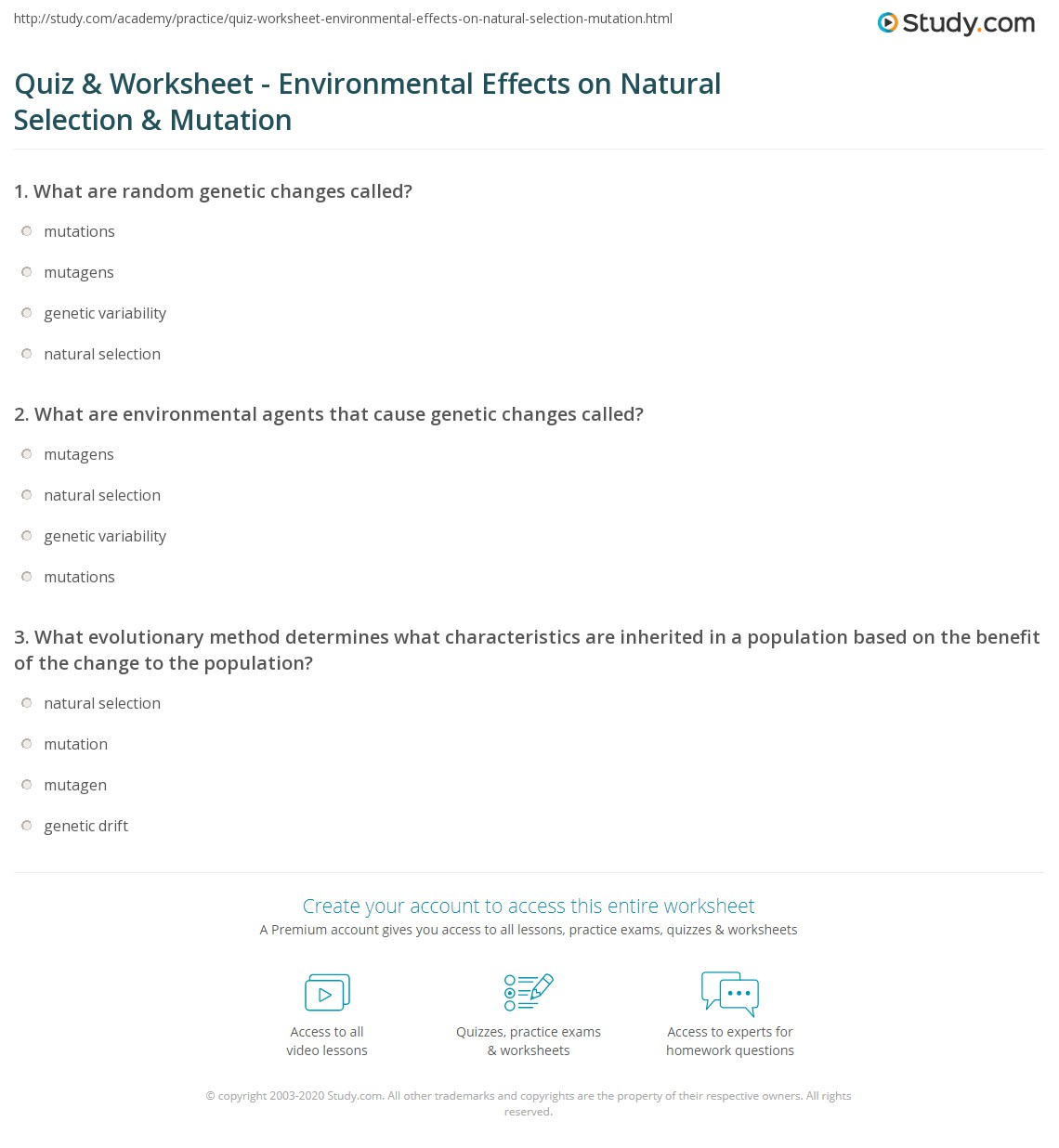 Quiz & Worksheet - Environmental Effects on Natural Selection ...