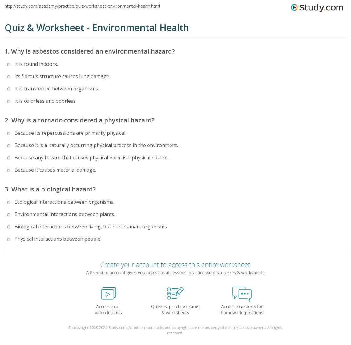 worksheet Middle School Health Worksheets quiz worksheet environmental health study com print what is definition types sources worksheet