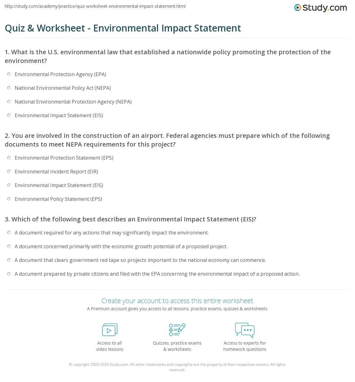quiz worksheet environmental impact statement. Black Bedroom Furniture Sets. Home Design Ideas