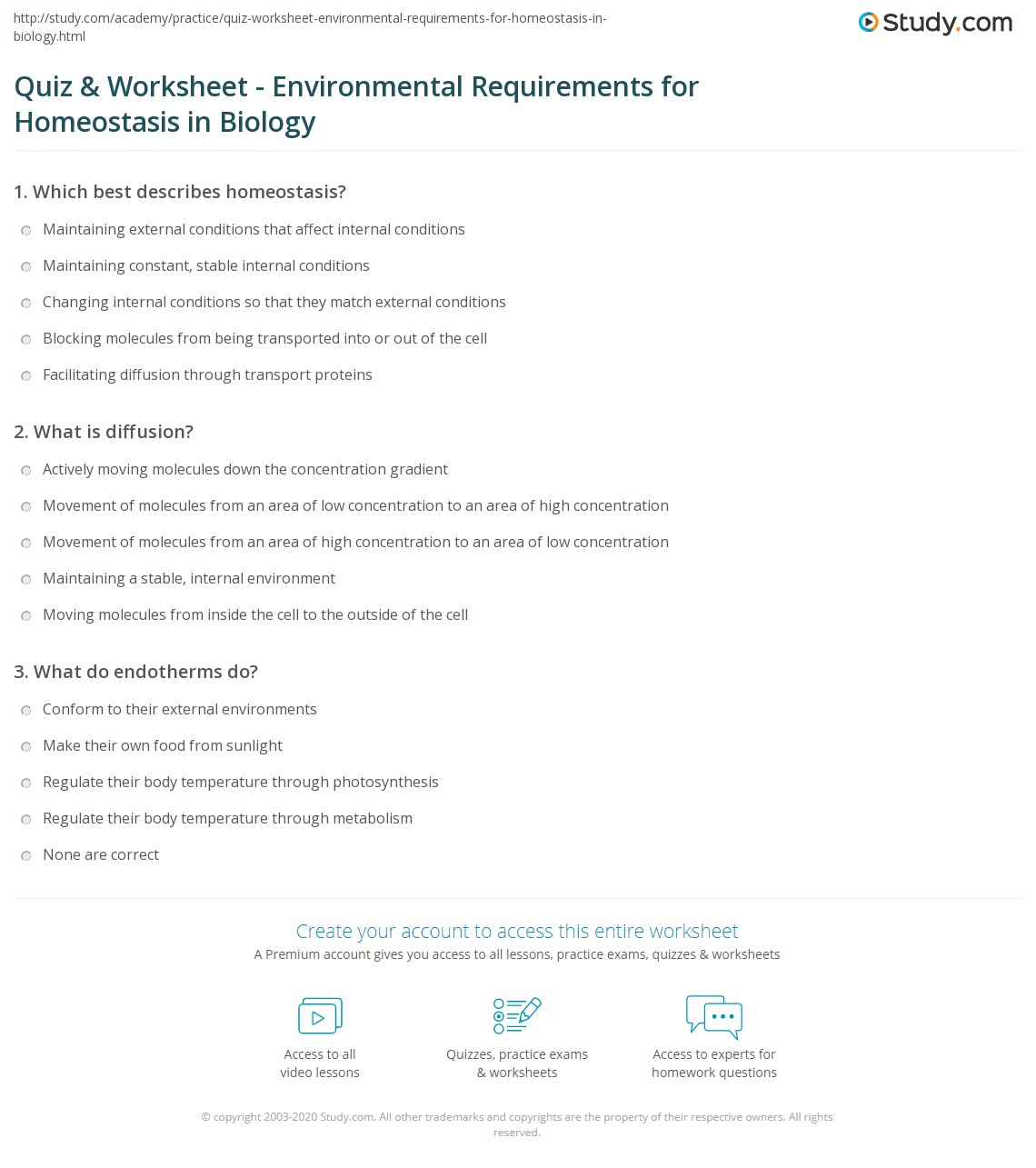 Worksheets Biology Worksheet quiz worksheet environmental requirements for homeostasis in print the growth reproduction dynamic worksheet