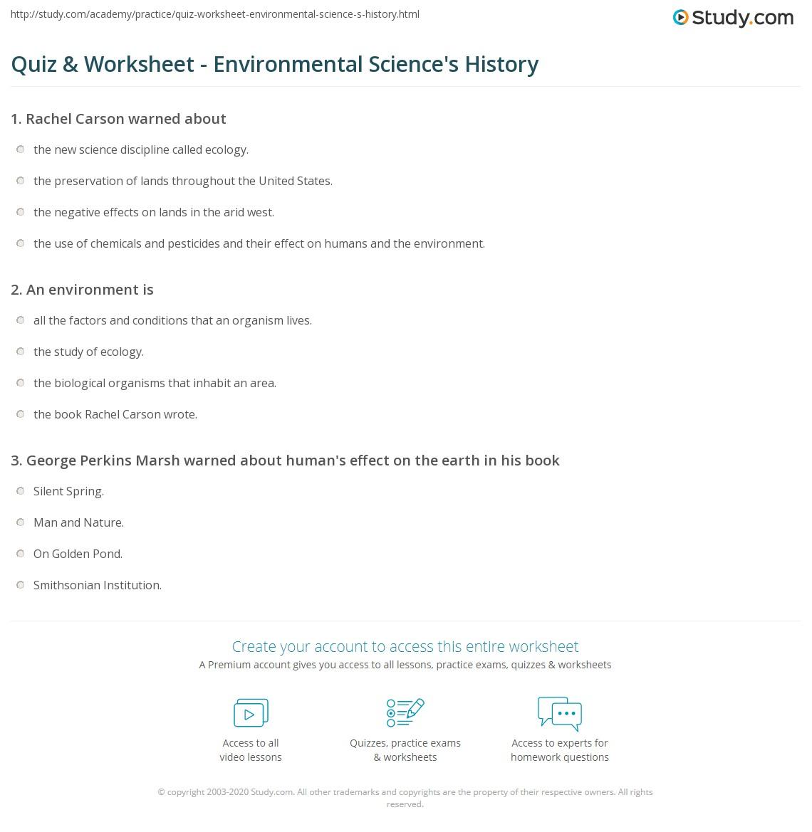 Worksheets Environmental Science Worksheets quiz worksheet environmental sciences history study com print the of science in america worksheet