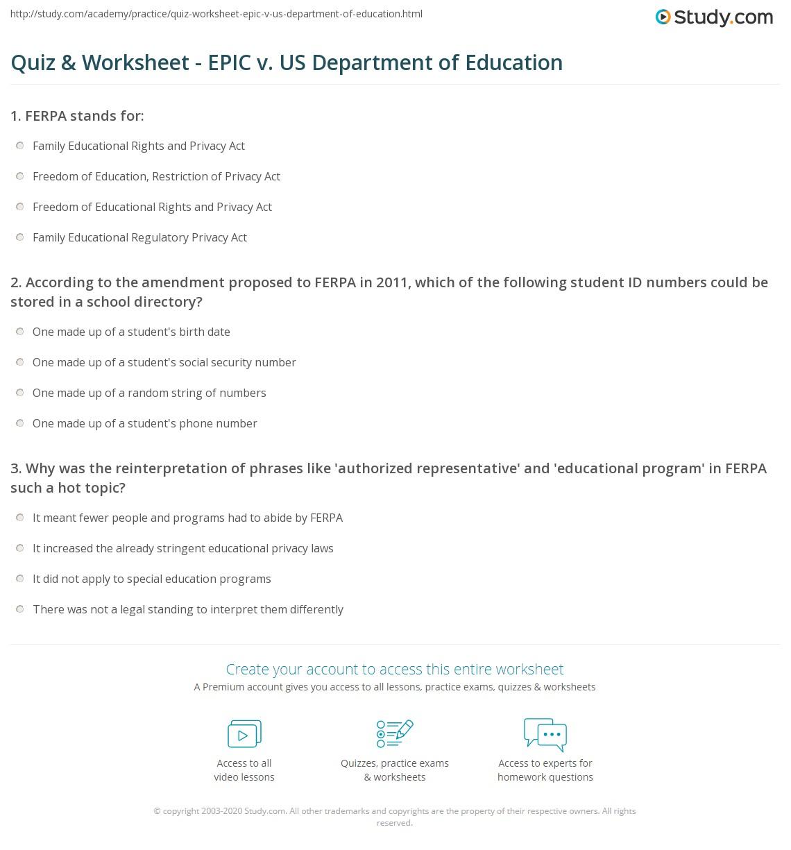 Quiz & Worksheet - EPIC v. US Department of Education | Study.com